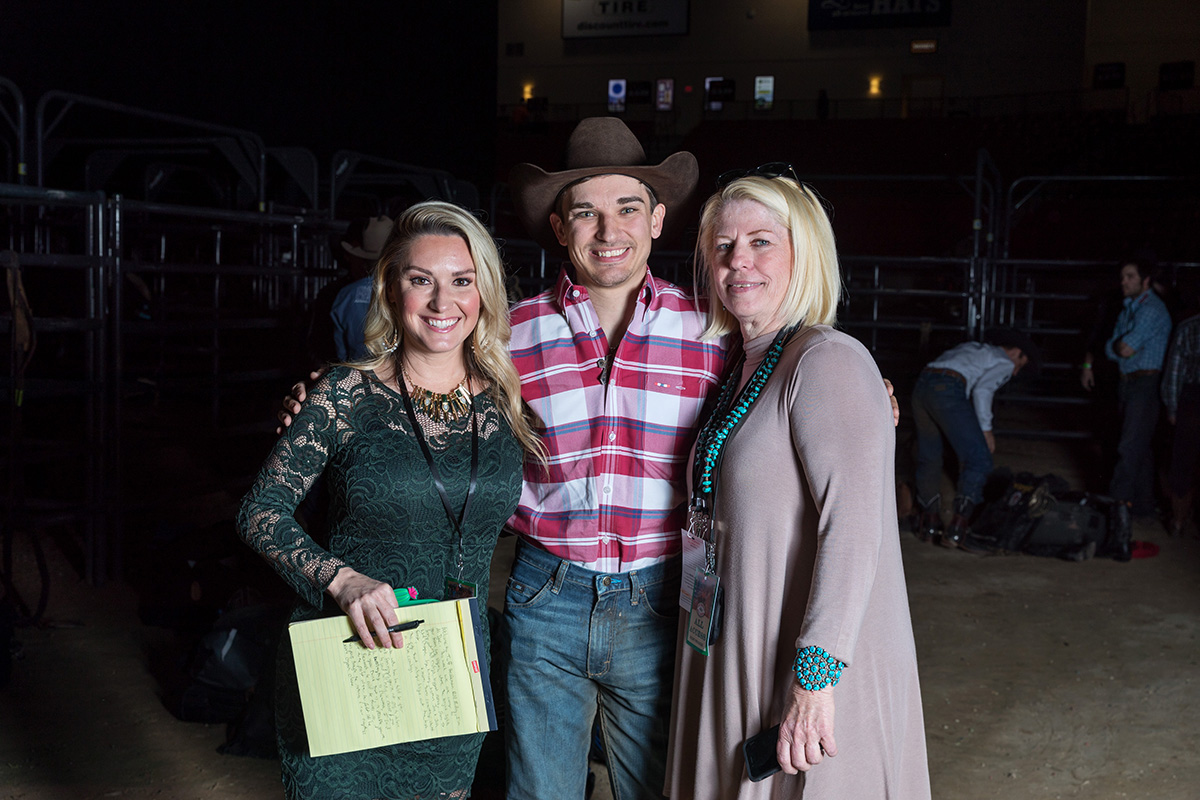 Rostockyj was tapped by the Hedeman's for his first Television broadcast job in 2018. Left to right, chute reporter Ali Dee, Cody Rostockyj, and Cheryl Hedeman.