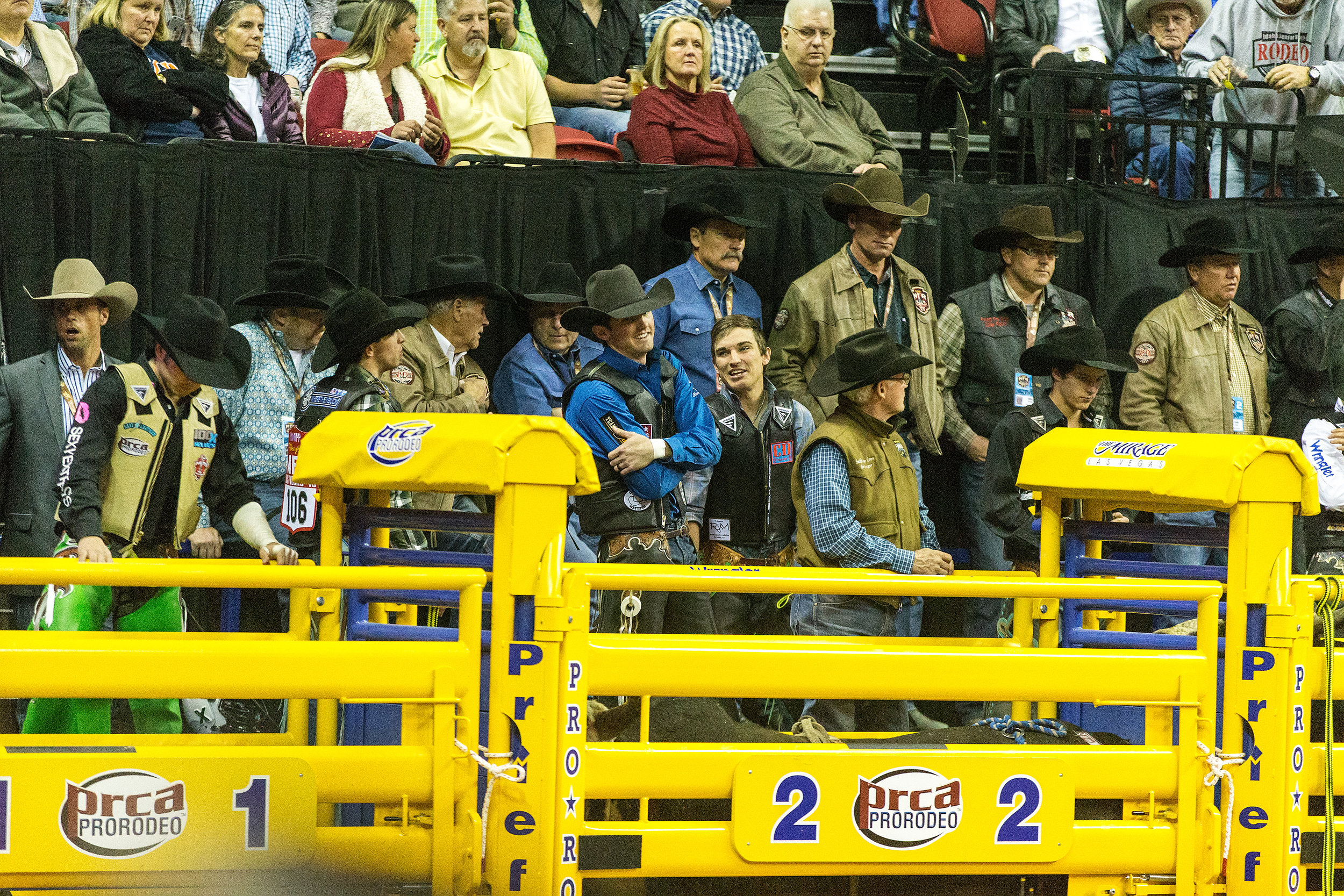 Cody Teel and Cody Rostockyj spent years as competitors…and friends. Photographed at the 2016 NFR in Las Vegas. Photo by Todd Brewer