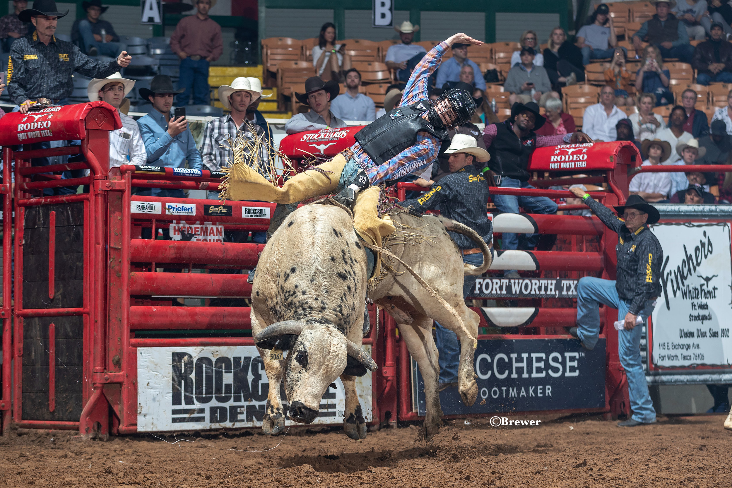 Maverick Potter pictured on Flea Flicker (88.5 pts) at the Fort Worth Tuff Hedeman Challenge bull riding in April. Potter was the only qualified ride in the championship round to seal the win at the the IFYR Championship bull riding title in Shawnee, Oklahoma on July12.