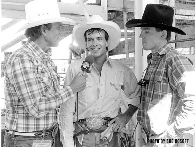 Sports Machine broadcaster George Michael interviews Lane Frost and Tuff Hedeman - Photo by Sue Rosoff