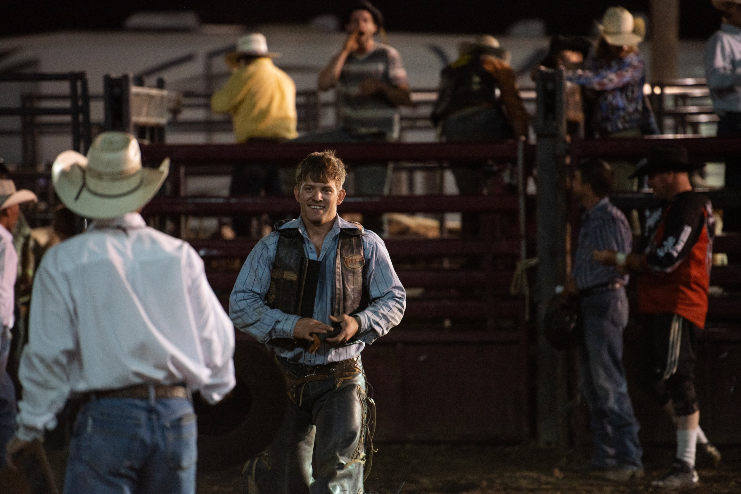 Jake Weber is all smiles after his winning ride on the first leg of the Tuff Hedeman Midwest Swing in Woodstock, Illinois on Aug 2. Tuff Hedeman and the bull riding boys head to Belvidere Friday night for the second stop of the five city tour. The Midwest Swing Series is sponsored by WickedRank.com  Photo by Tricia Carzoli