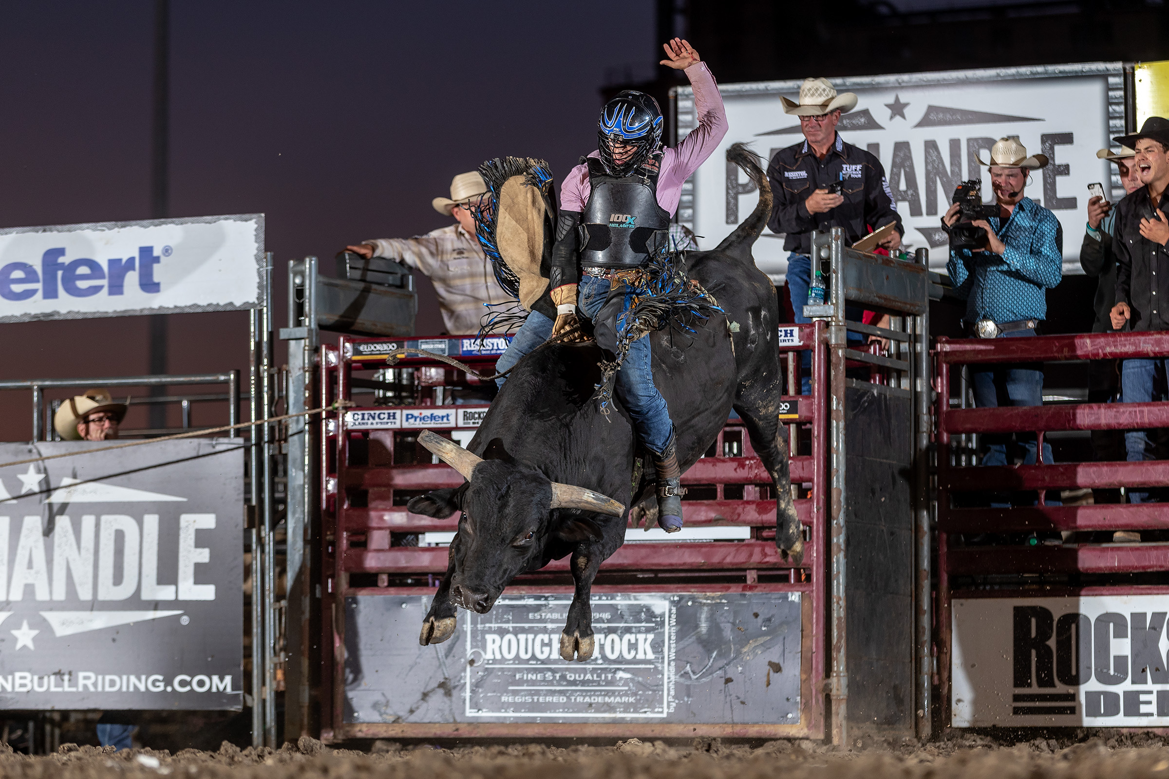 Javier Garcia wins night one of the Bull Bash in Huron with a 91 point ride on C415 Rag Doll (Baker).