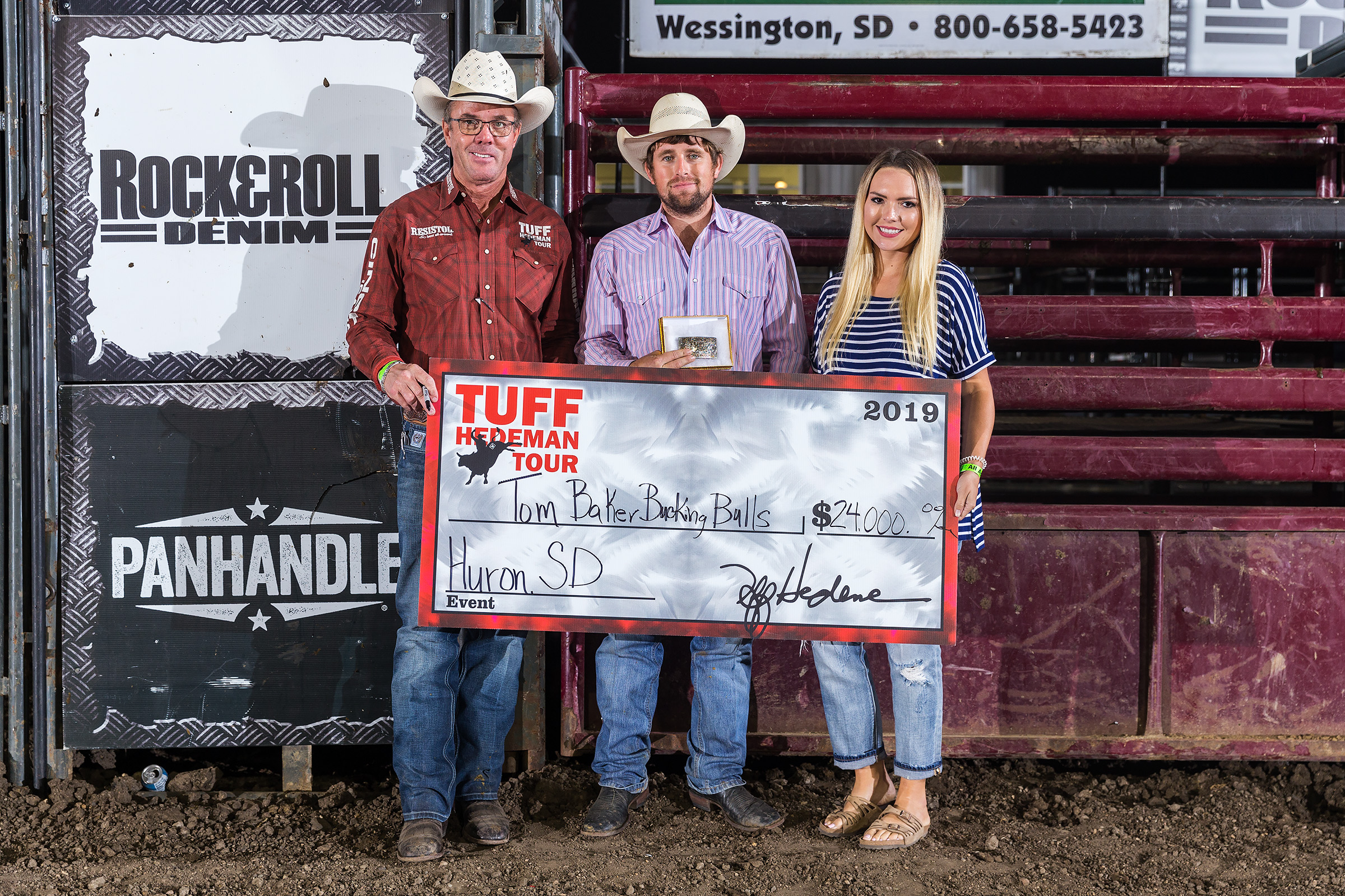 Chase Foutch accepts the win for Tom Baker Bucking Bulls at the Red Wilk Construction Bull Bash. Foutch hauled and flanked the first and second place teams on night one in Huron..