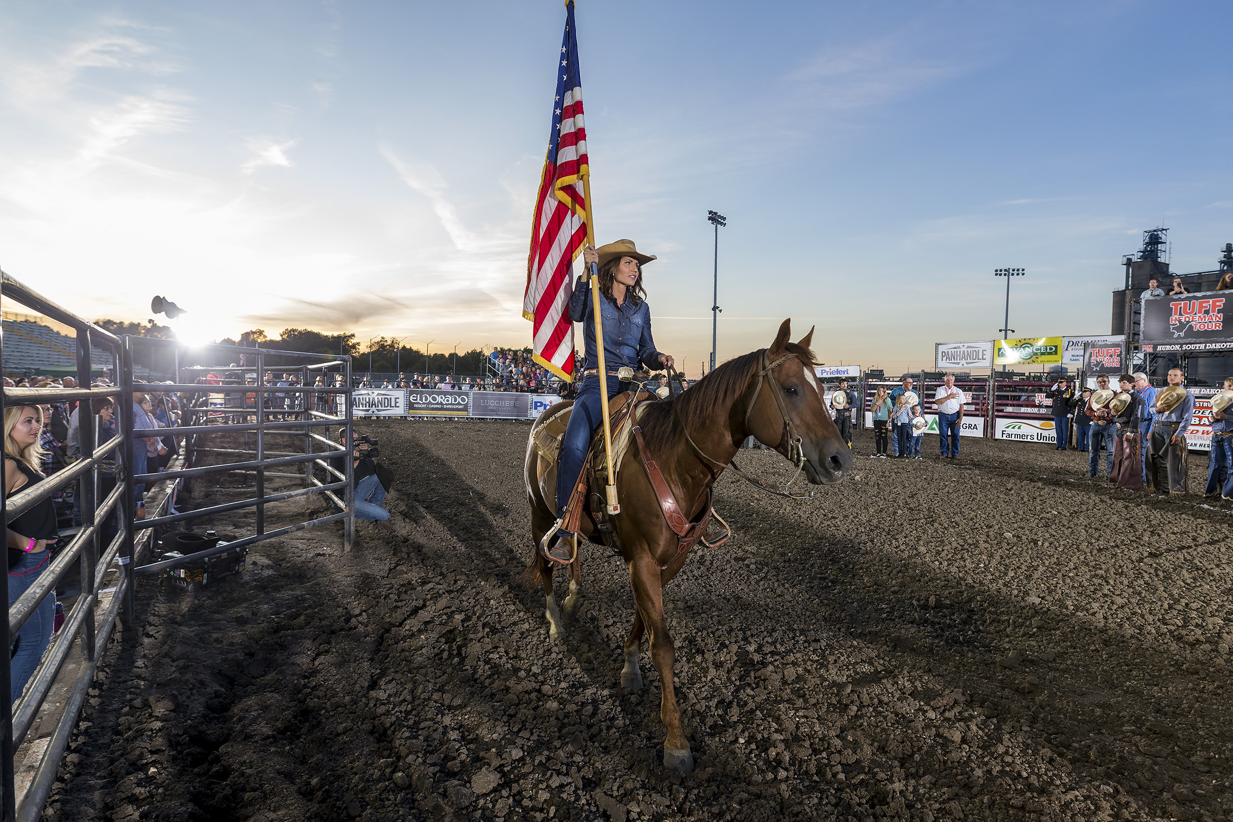 South Dakota Governor Kristi Noem carried the flag to open the 2019 Red Wilk Construction TH Bull Bash