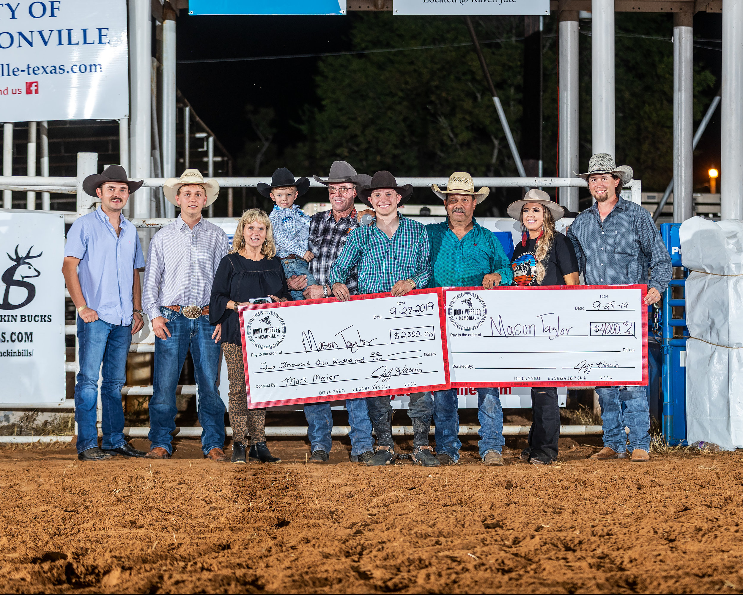 Taylor Claims his first Tuff Hedeman event title and checks from the Wheeler family, Tuff and Ryker Hedeman, Jeff Harris and Haley and Brian Beasley. Photos by Todd Brewer.