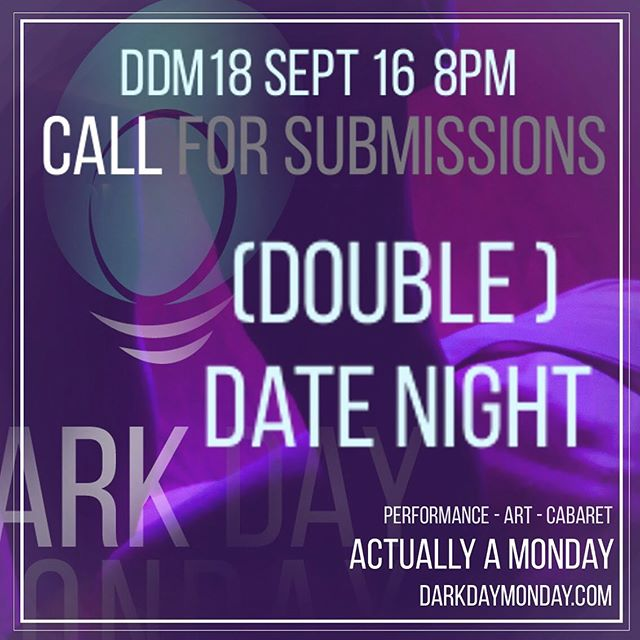 DDM 19 - Double Date Night - Sept 16 8pm  submissions close August 16 Dating is hard. And funny. Double dating is harder. And funnier? We want to see your art that comes from heartbreak, from new love, from mix-ups and mistakes, from too many loves.  Pictured: @natbushnik & @robinluckwaldt  Photo @barry.mcc . #toronto #theato #live #liveart #bloordale #parkdale #bloorcourt #torontowest #callforartists #callforsubmissions #torontocomedy #torontoperformer #queer #queerart #queertoronto