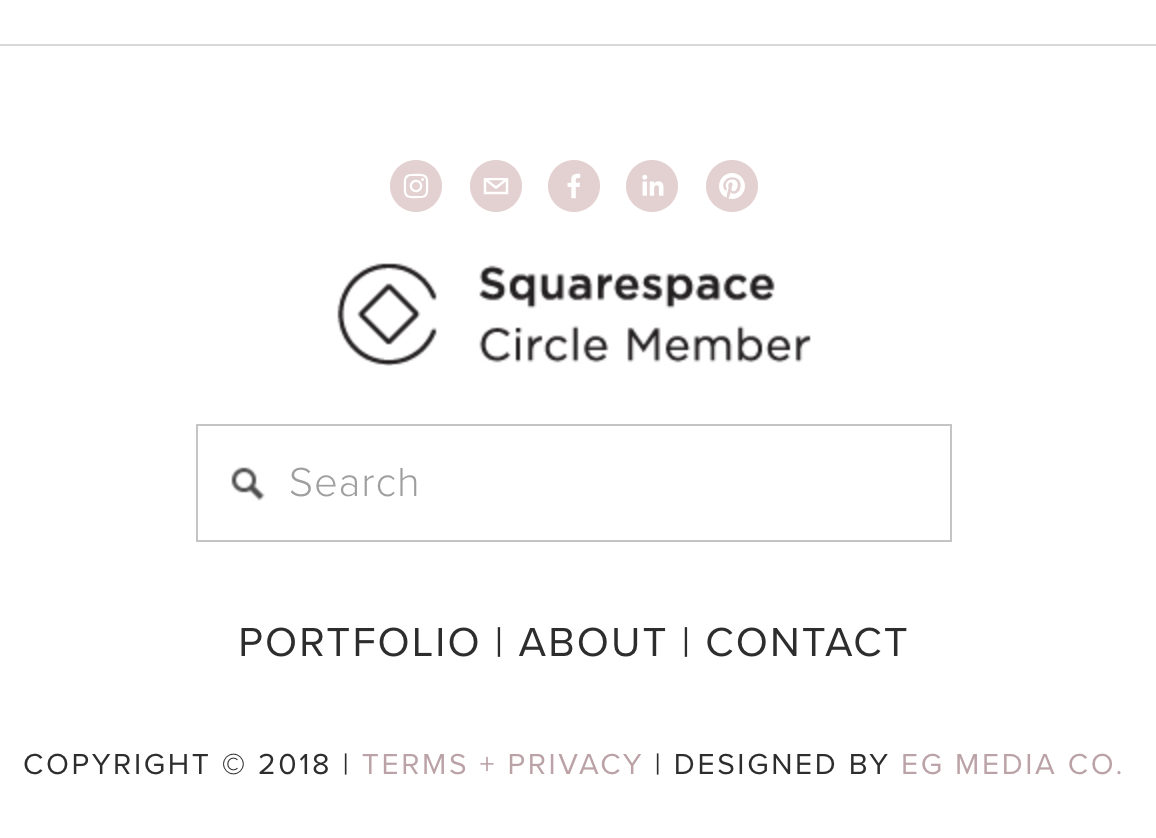 How to add a footer navigation on your Squarespace website without changing your template by EG Media Co. | Squarespace tricks, Squarespace tips, squarespace web designer, squarespace designer, squarespace footer, five template