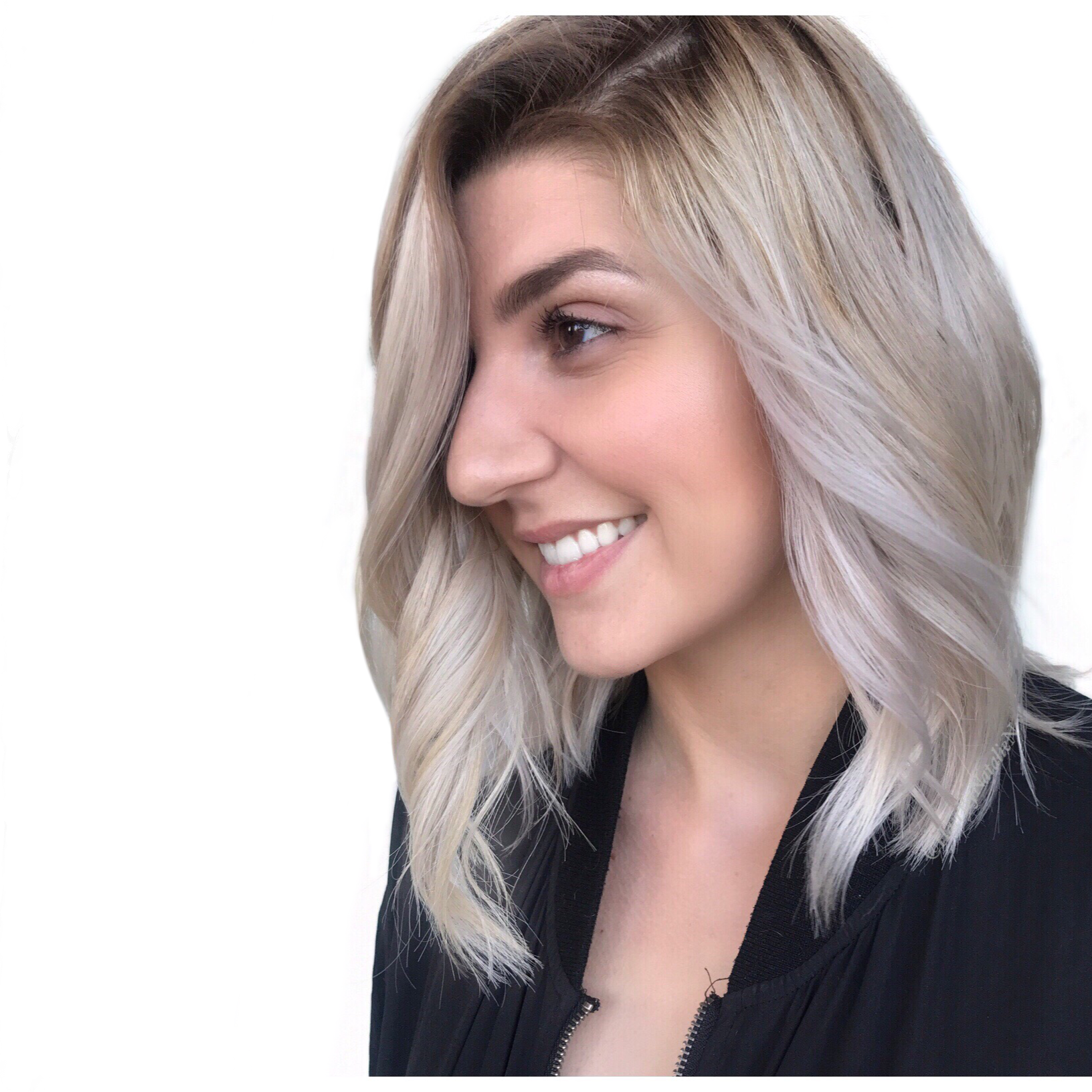 Ash blonde, mid length