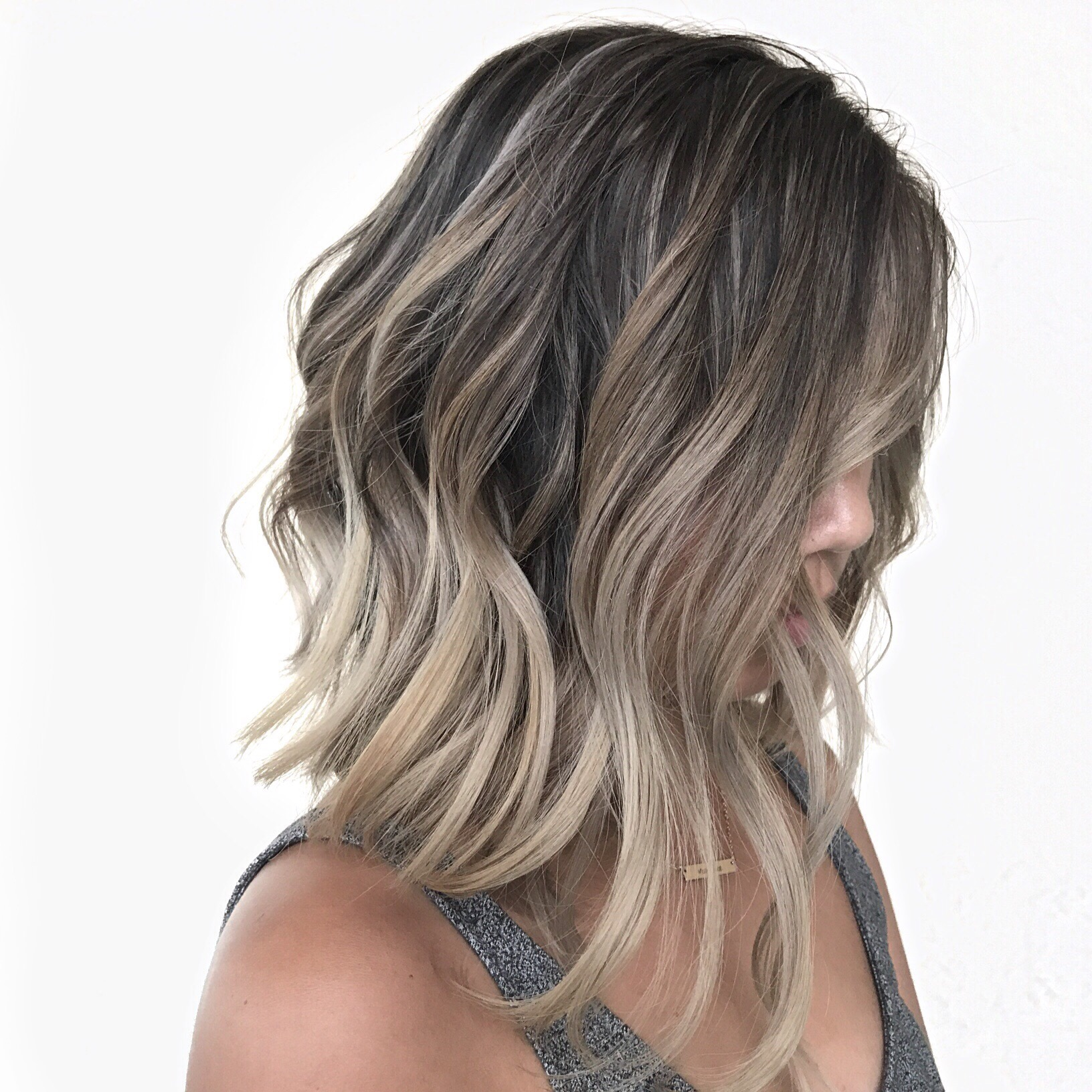 Ash blonde, aline haircut