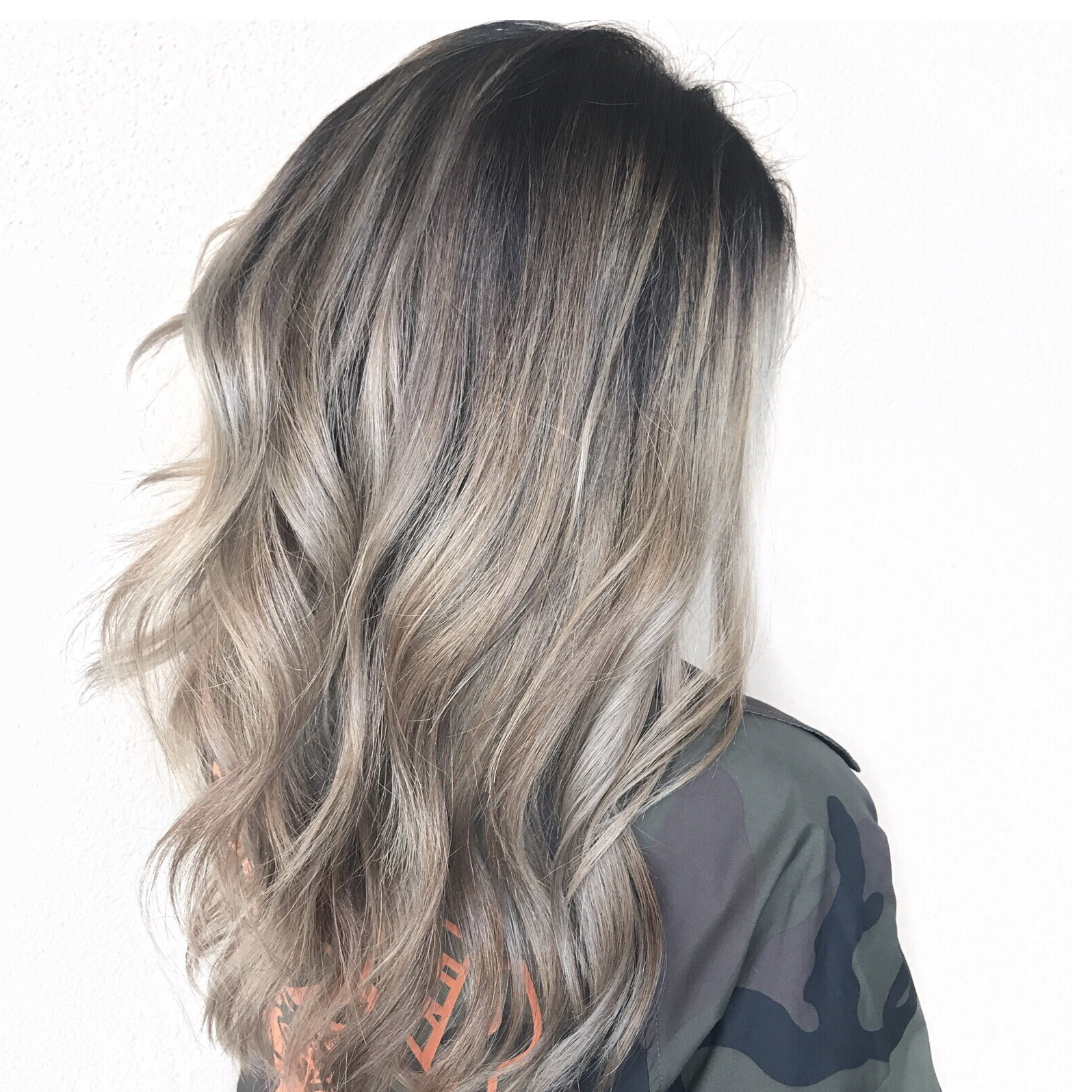 Ash blonde, long layers