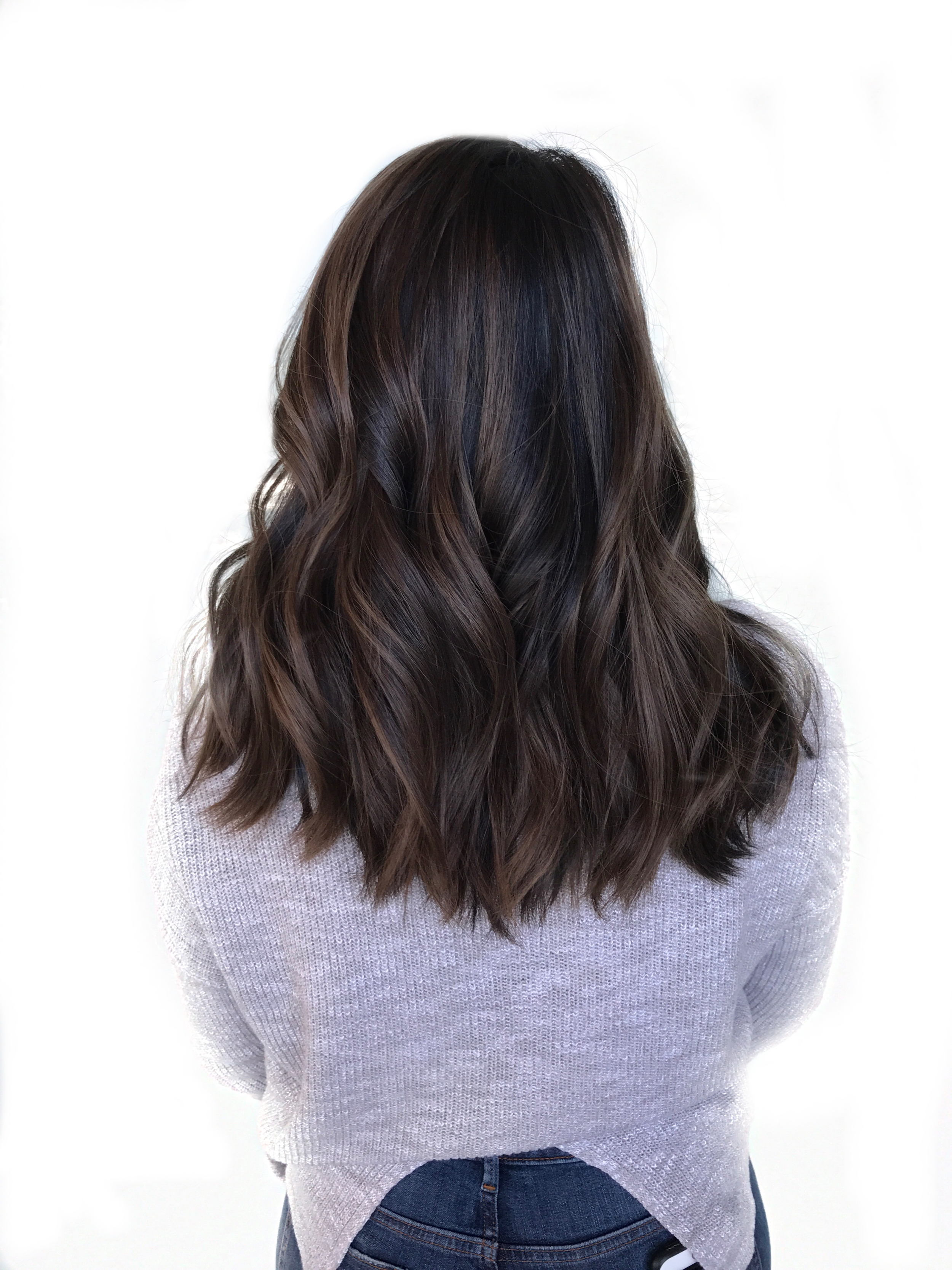 Balayage ash brown, textured mid length back