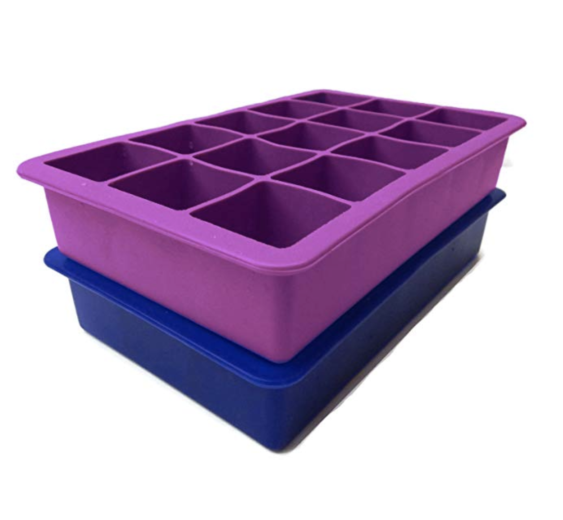 Silicone Ice Cube Tray    Love these so much! I use them to make fruit infused ice cubes (love blueberries, raspberries and pineapple), bone broth dog treats, frozen pesto single cubes, coconut water ice cubes...the possibilities are endless. Dishwasher safe and easy to clean.