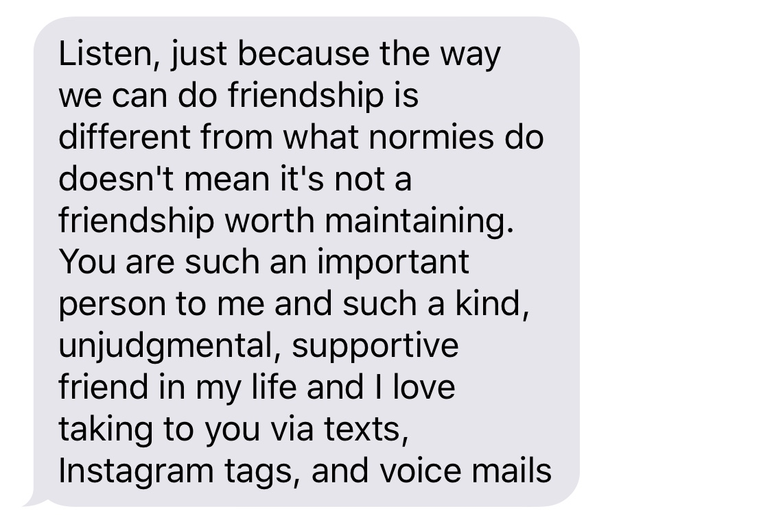 A text from my truest voicemail bestie that made me 😭