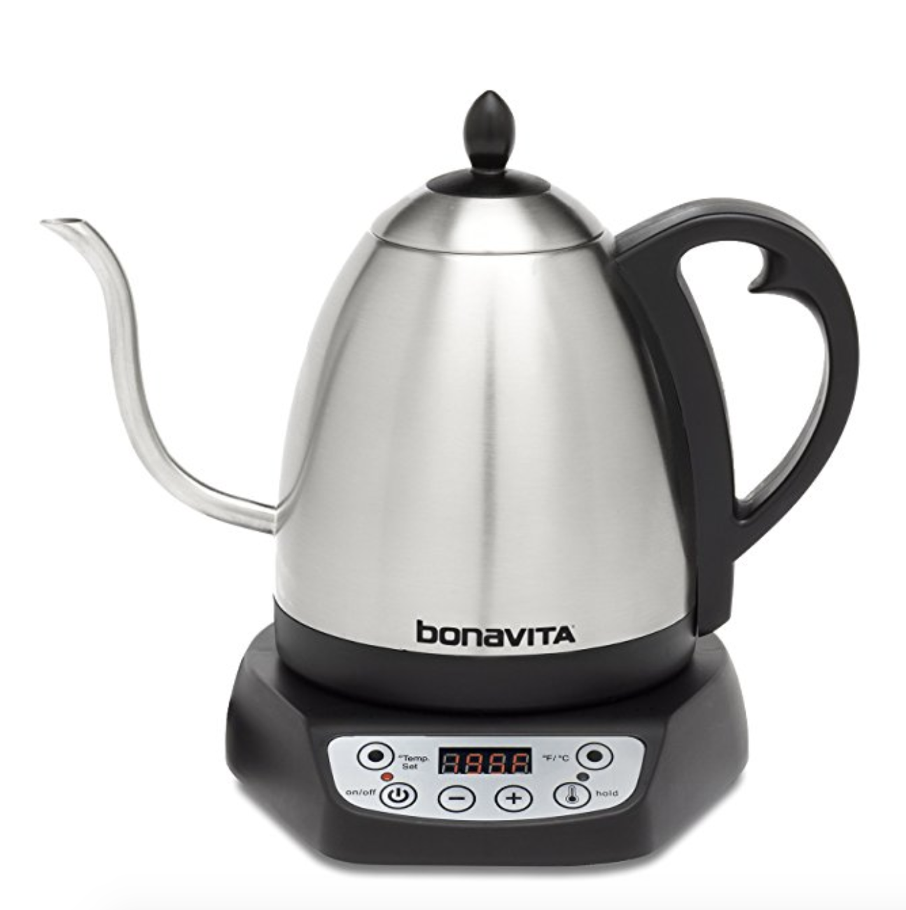 Bonavita Electric Kettle    Another product we use every single day! My boyfriend likes it because you can set the temperature to an  exact  degree (206 for the perfect pour over coffee), and I like it because it makes me feel fancy every time I make a hot drink (which is very often). It's also speedy and looks good on your countertop.