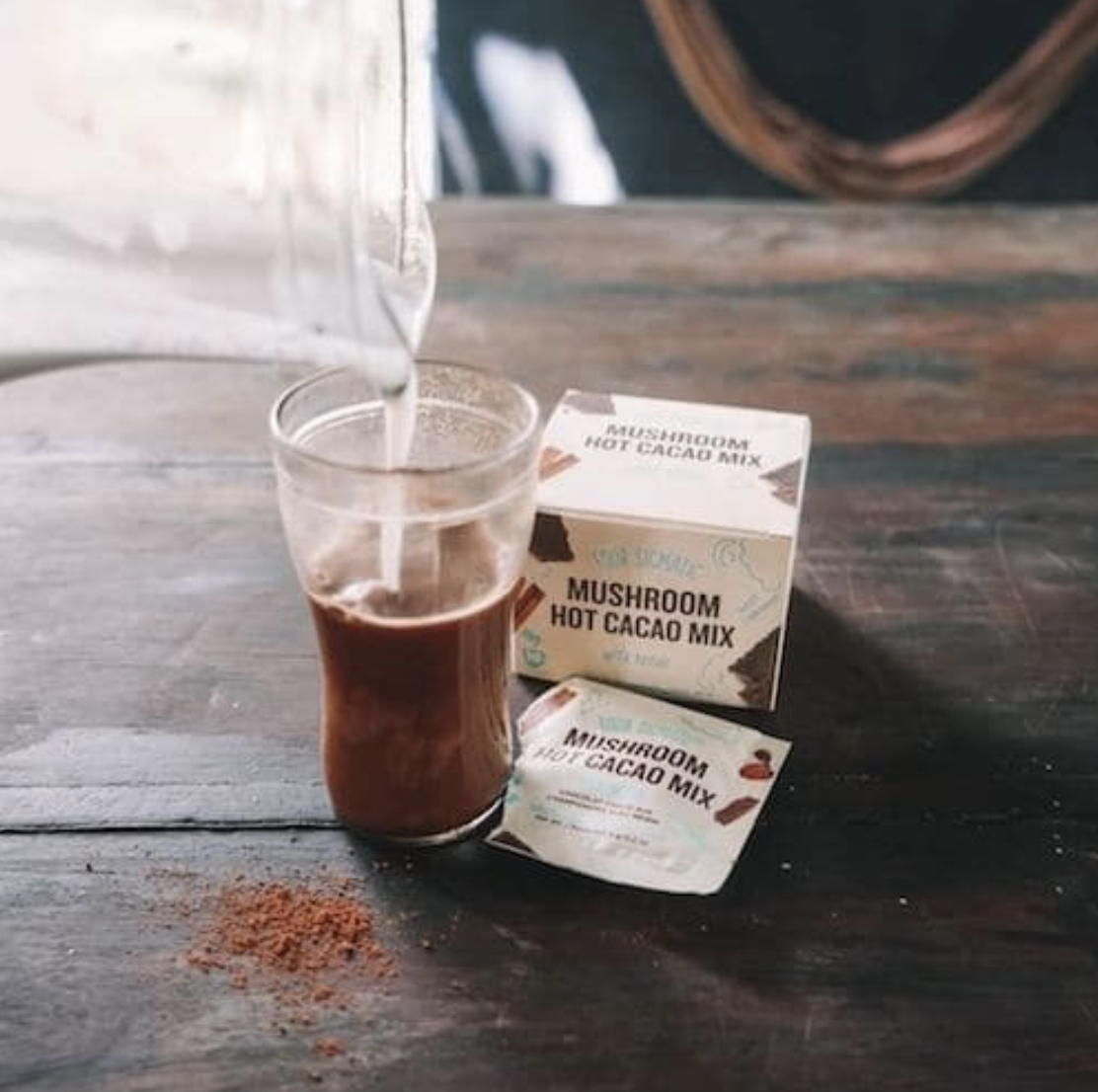 5.    Four Sigmatic Mushroom Hot Cacao   , Amazon   (can also order from    Thrive   ) : I am so grateful I learned about Four Sigmatic, because their products have become one of my favorite daily rituals. I often start my day with either Mushroom Coffee or Chaga, but almost every single day I have a cup of the Mushroom Hot Cacao before bed. Reishi is calming and soothing, and the cacao satisfies my sweet tooth when I would reach for a dessert.