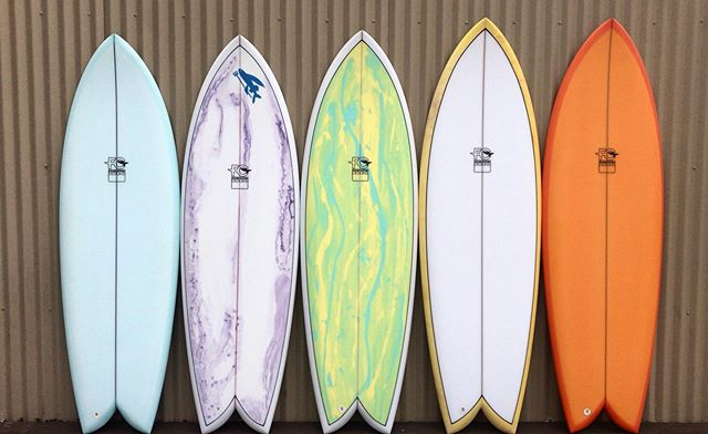 Go Fish 🐠! Cruise by the shop to check out our current lineup of twin fins, or give us a call for more info. #fcdsurfboards #twinfin #fish