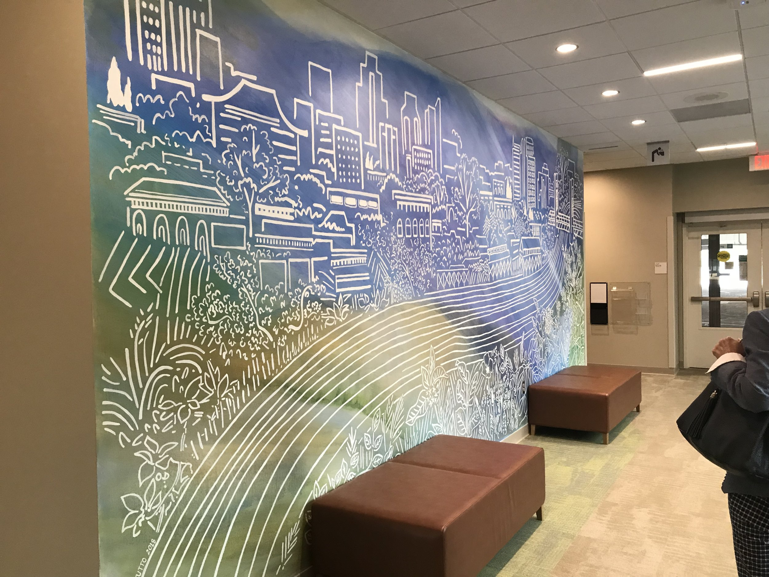 Art work in the lobby of Kaiser Permanente Downtown