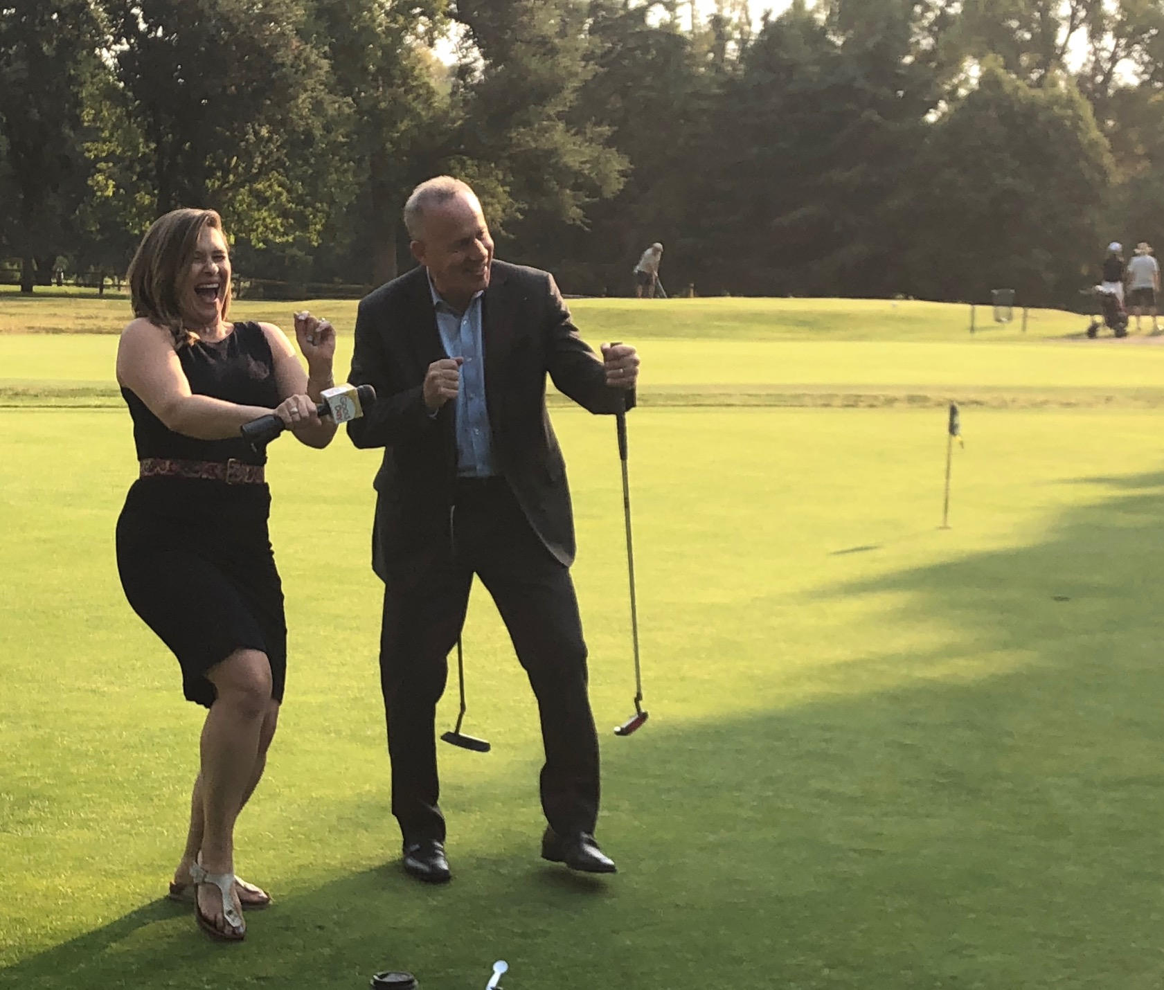 Mayor Steinberg shows off his moves with reporter Bethany Crouch