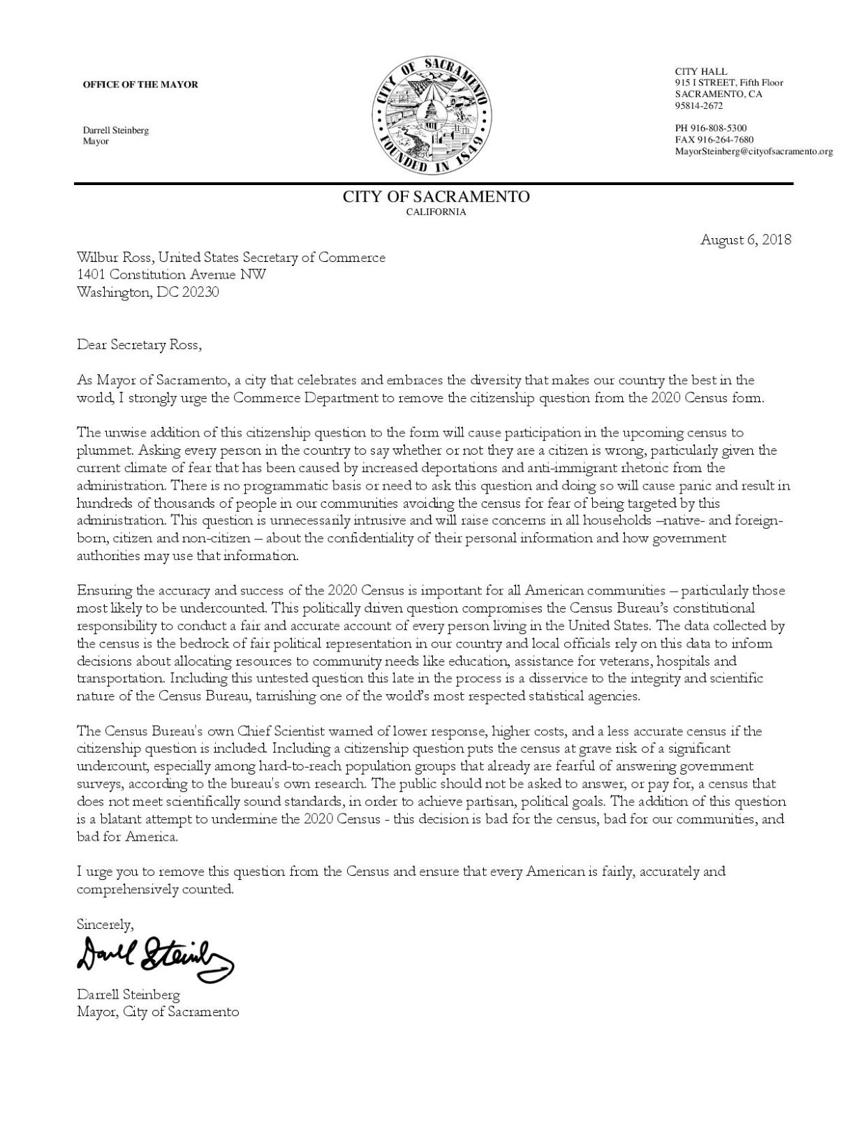 MDS Letter to Wilbur Ross re Citizenship Question-page-001 jpeg.jpg