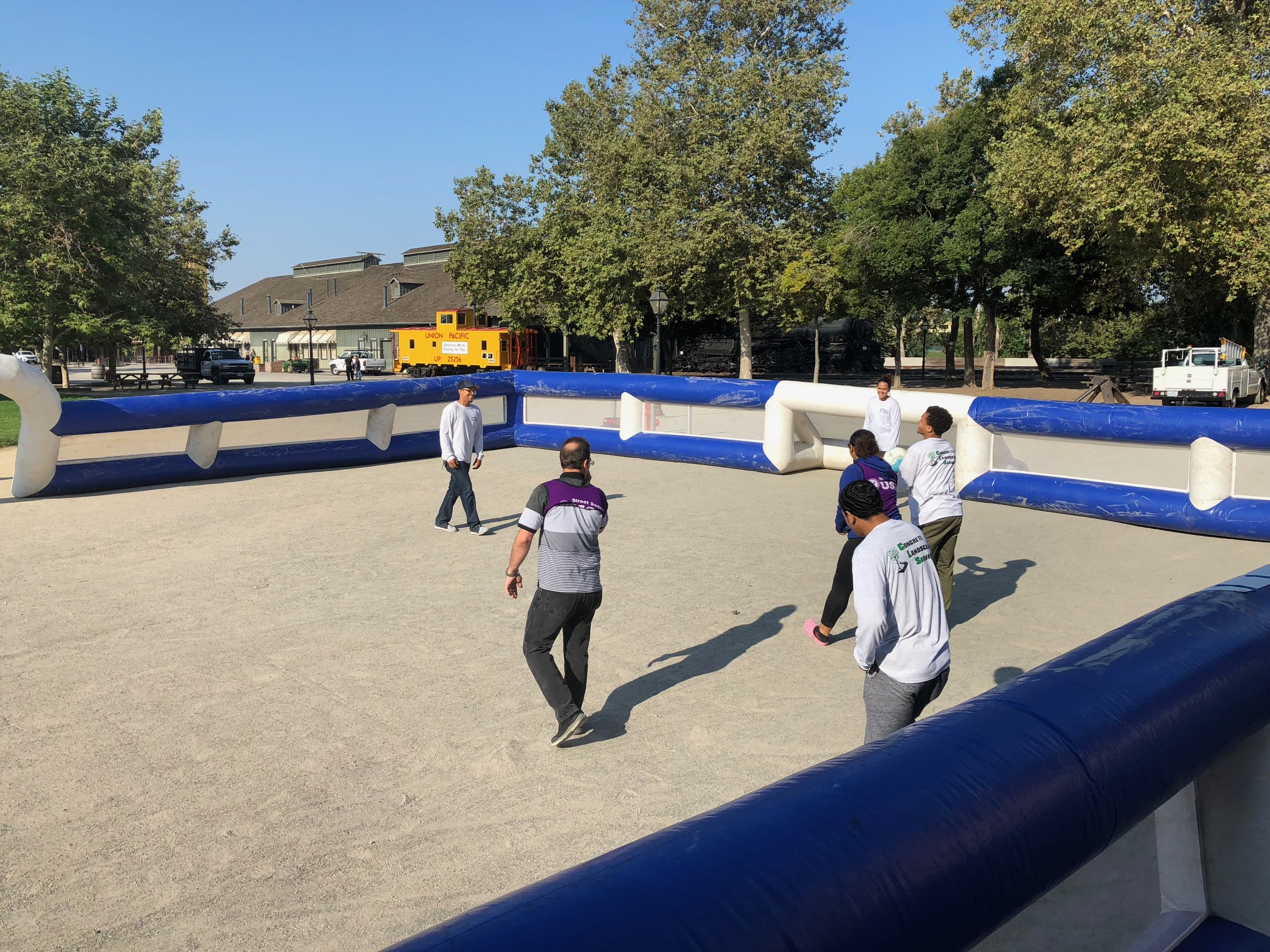 An inflatable court used by Street Soccer Sacramento