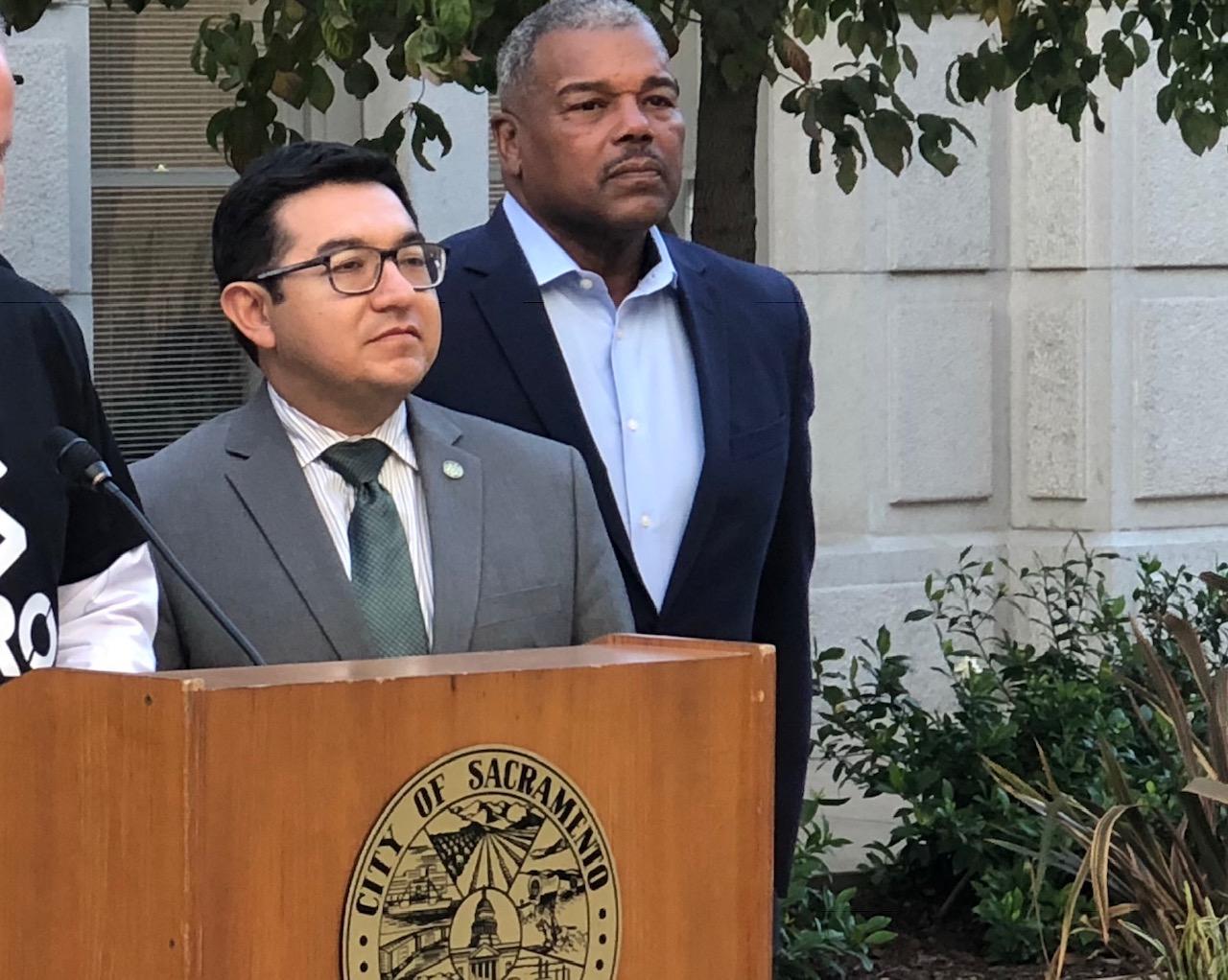 Sacramento Councilmember Eric Guerra (left) with Councilmember Rick Jennings