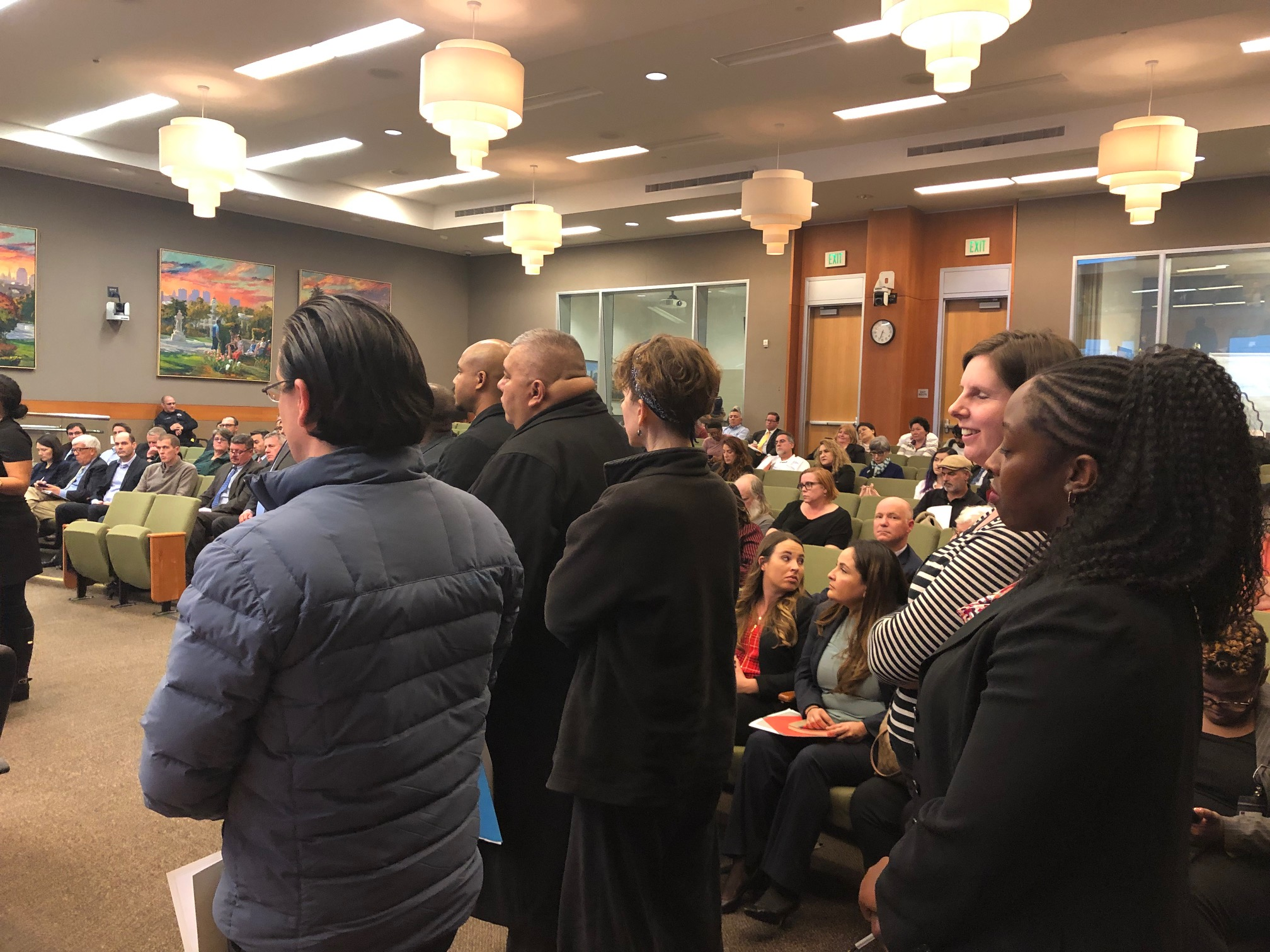 FUEL Network supporters line up to speak at the Sacramento City Council meeting on Dec. 11, 2018.