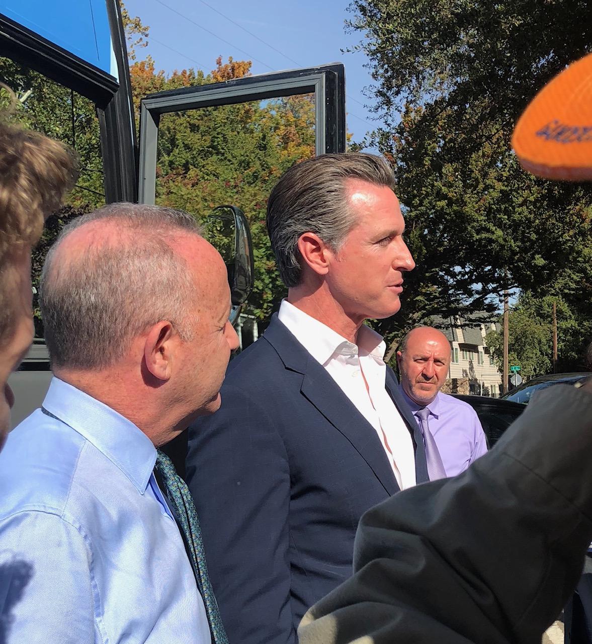 Gov. Gavin Newsom and Mayor Darrell Steinberg visit a Sacramento preschool on Oct. 31.