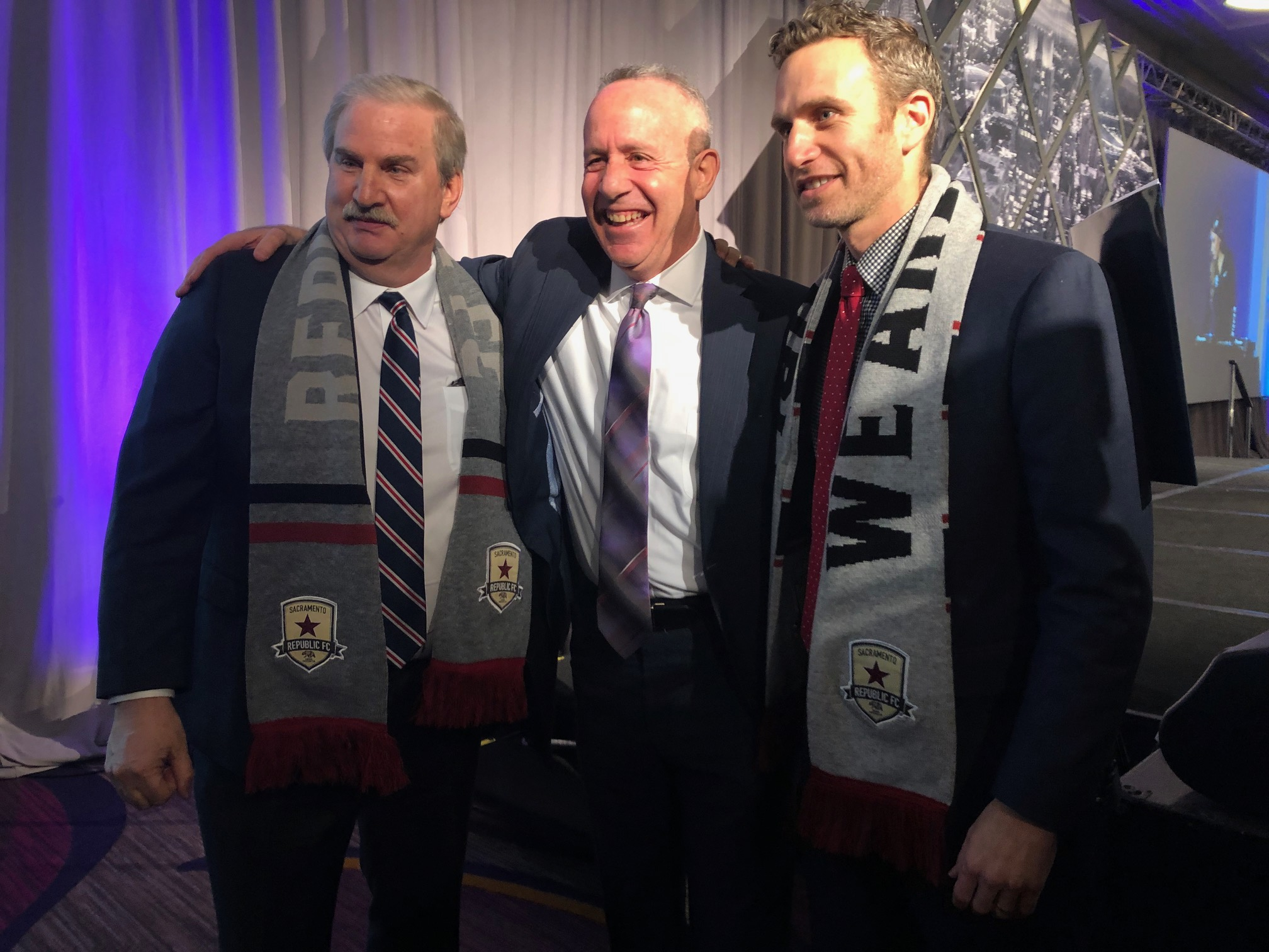 Republic FC's Kevin Nagle (left) and Ben Gumpert (right) with Mayor Darrell Steinberg
