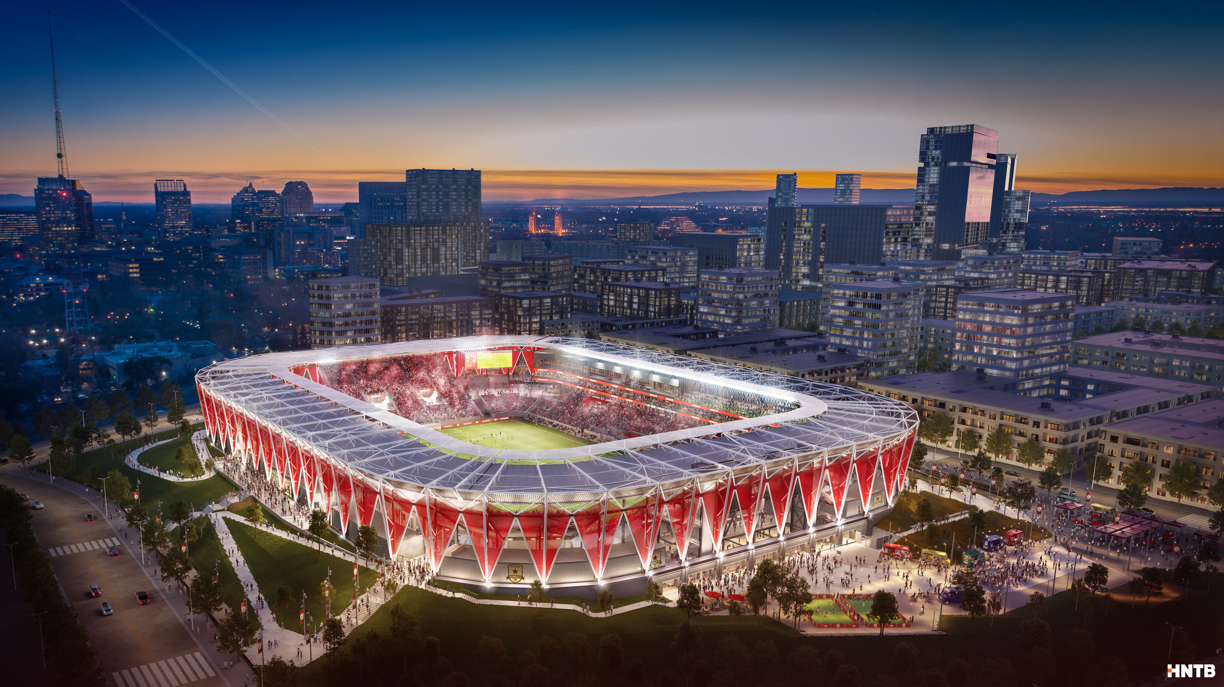 The latest rendering of the stadium planned by Sacramento Republic FC for Sacramento's downtown Railyards