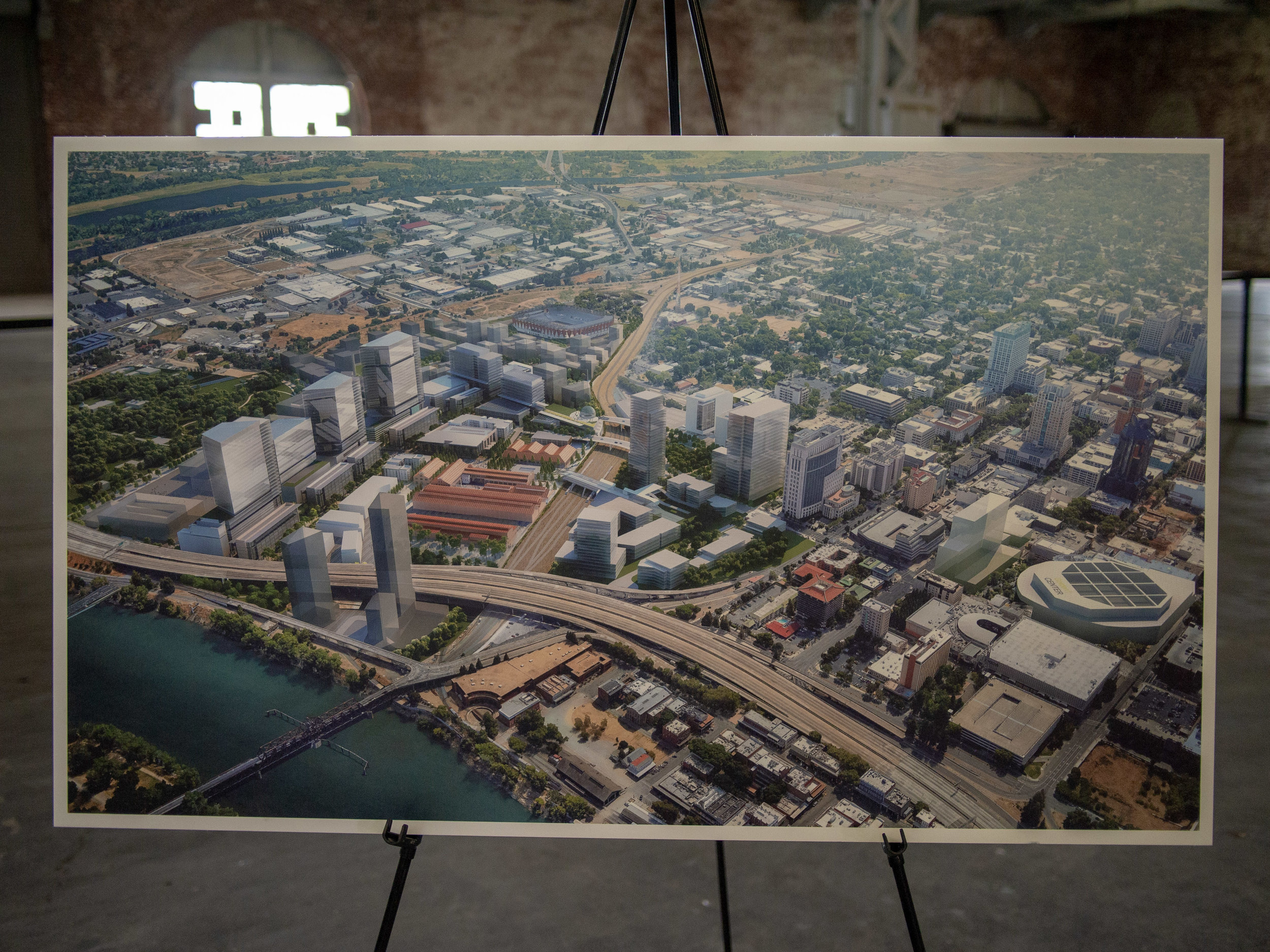This model of downtown shows development and the Republic FC stadium north of the existing downtown.