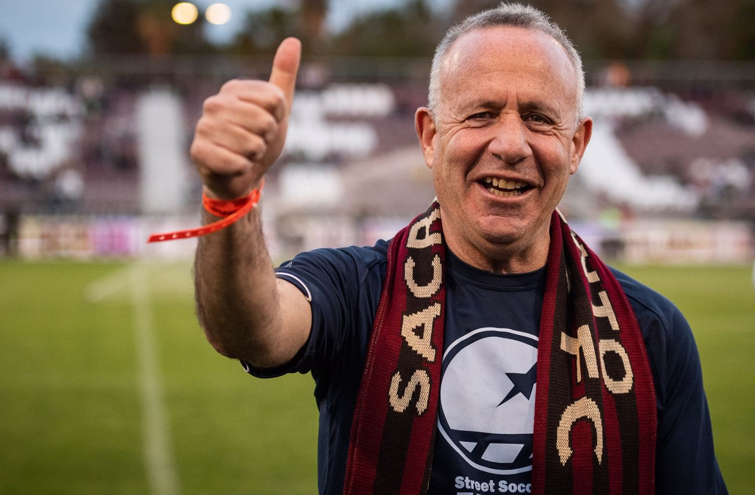 Mayor Steinberg gives the thumbs up at the Republic FC game on Saturday, April 6