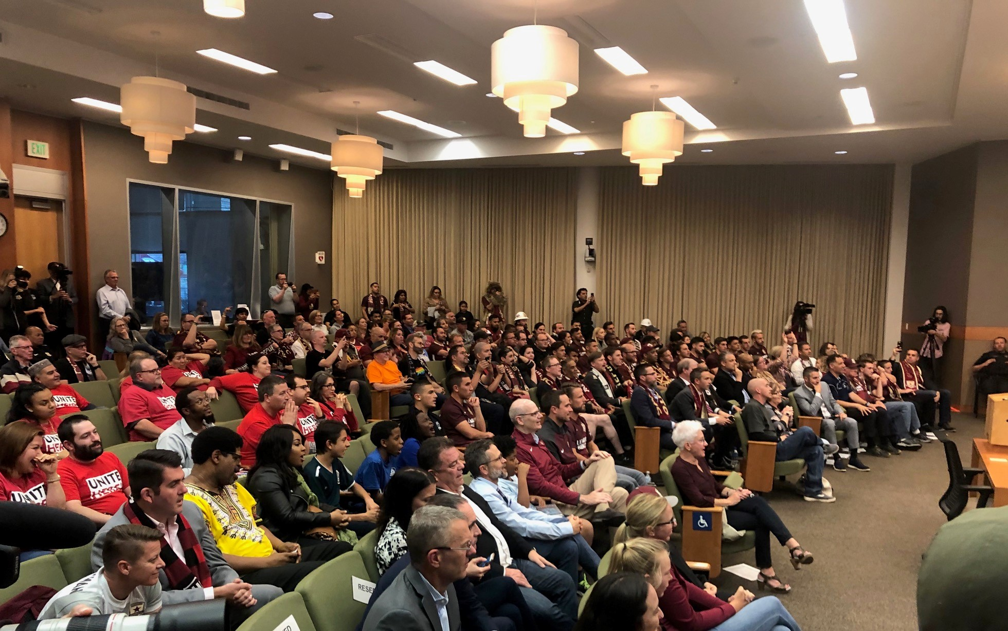 Soccer fans and supporters packed the City Council chambers before the vote.