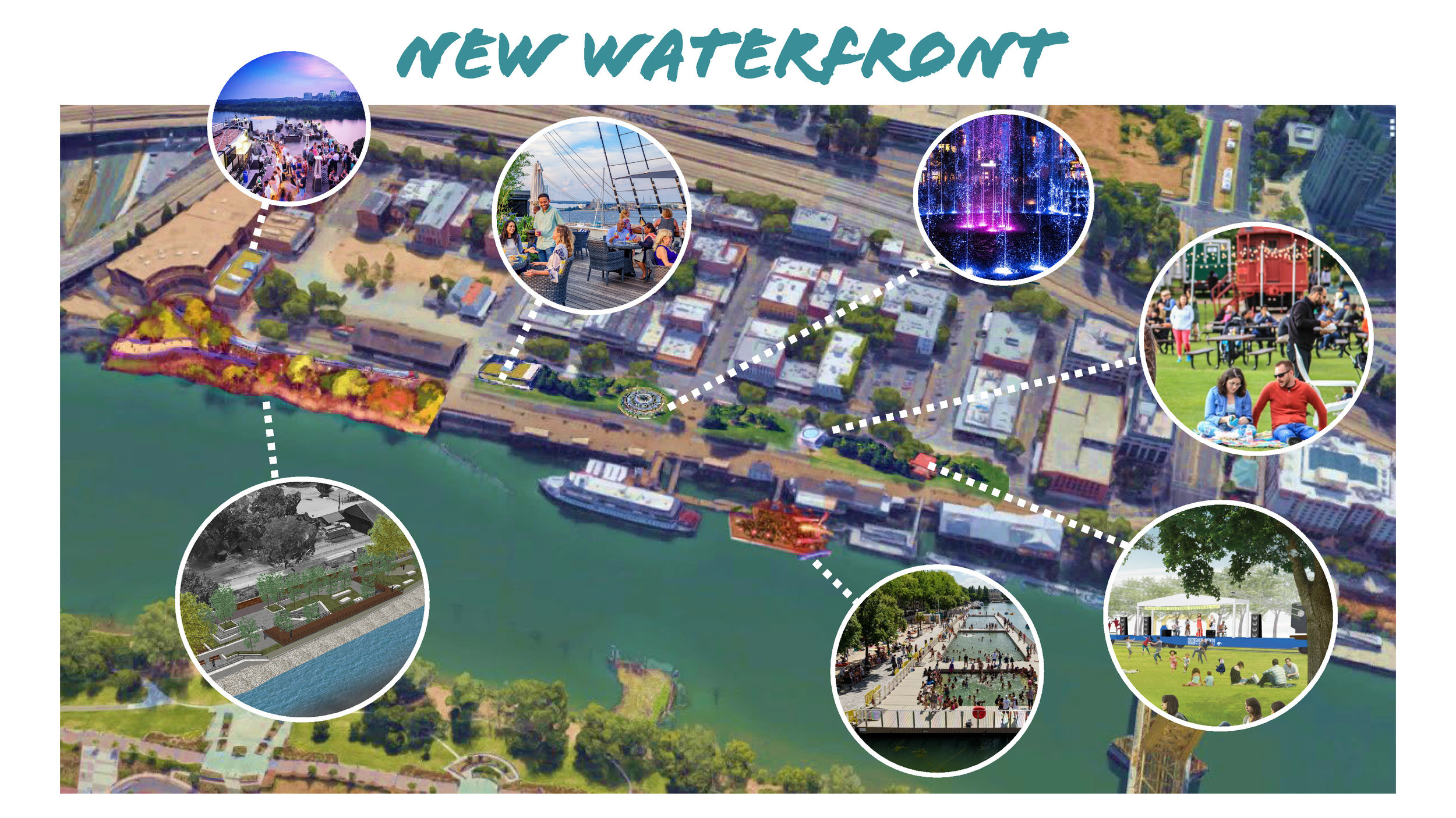 This slide shows where new attractions would go and what they could look like.