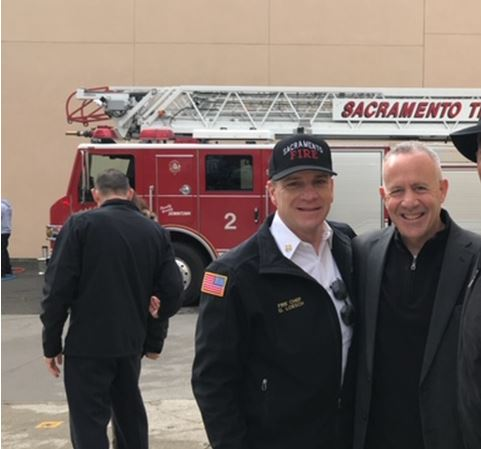 Mayor Steinberg with Sacramento Fire Chief Gary Loesch