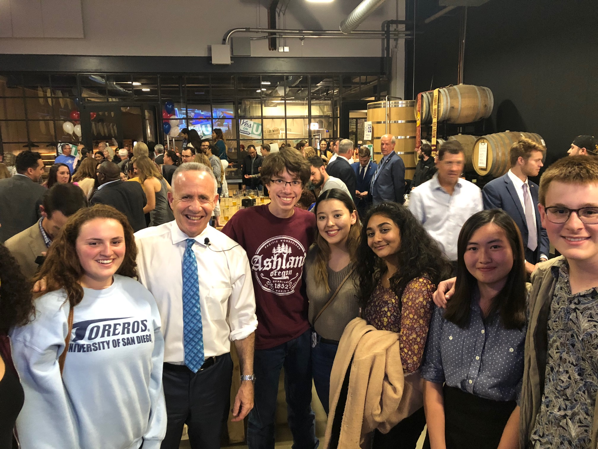 Mayor Steinberg and supporters of Measure U at victory party