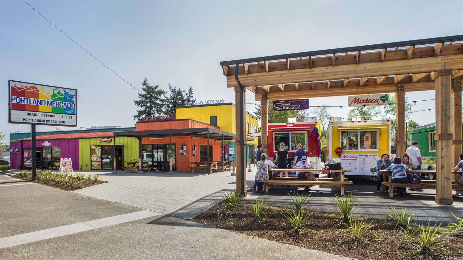 The Portland Mercado opened four years ago on a vacant car lot.