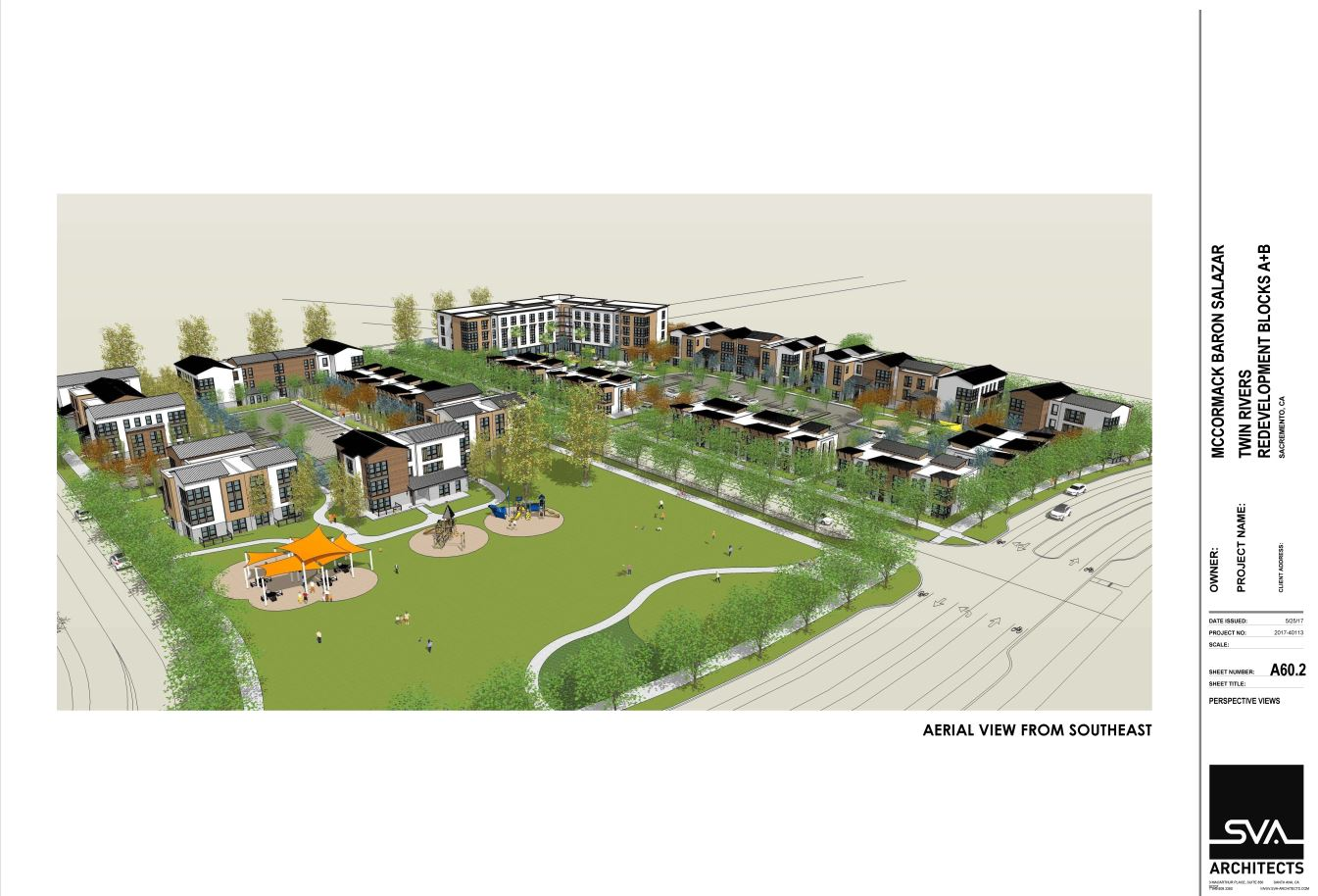 A rendering of the new housing planned on the site of the former Twin Rivers housing project
