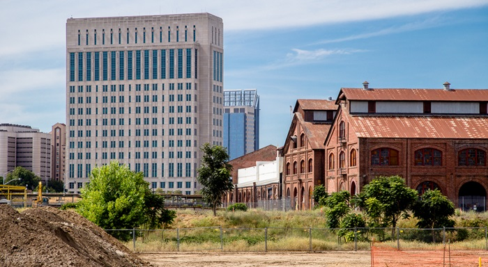 A view of the former Central Shops, right, in The Railyards north of downtown Sacramento