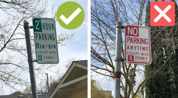 Puedes estacionar un auto GIG en un lugar con un letrero verde, pero mantente alejado de los letreros rojos.