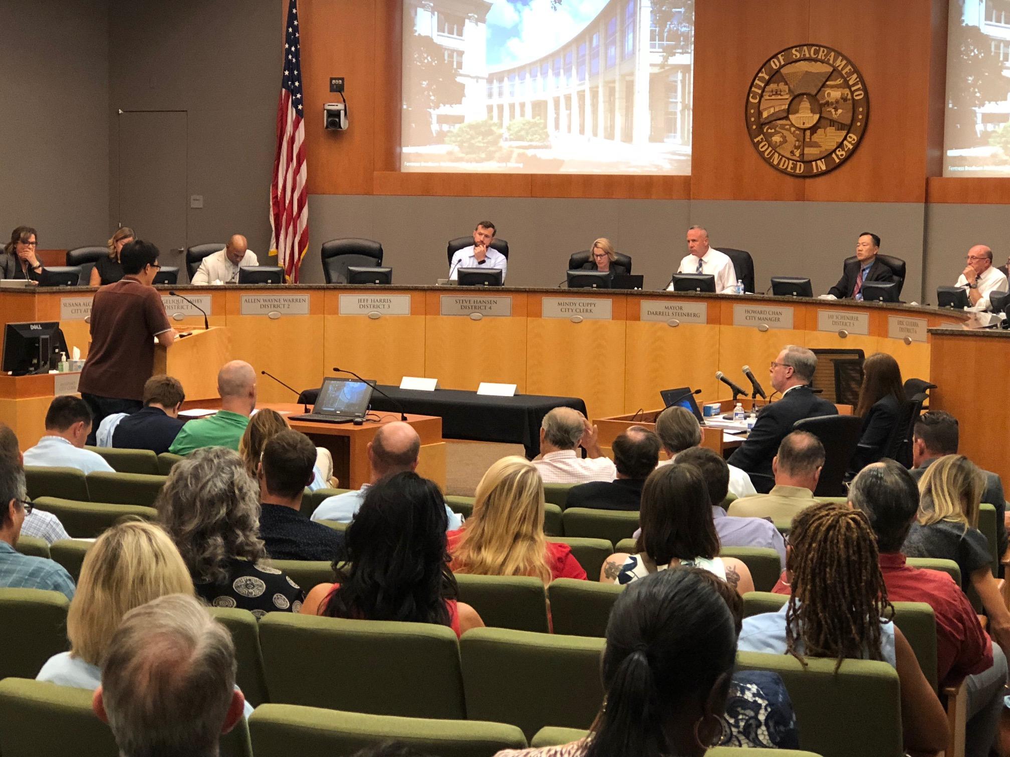 The City Council debates rent control at a 2018 meeting