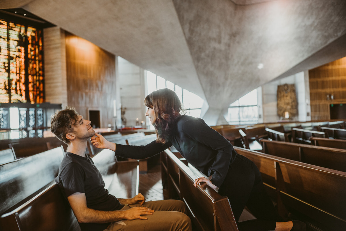 Conor + Gerri Couples Photo Shoot at Cathedral of Saint Mary by Jaclyn Le