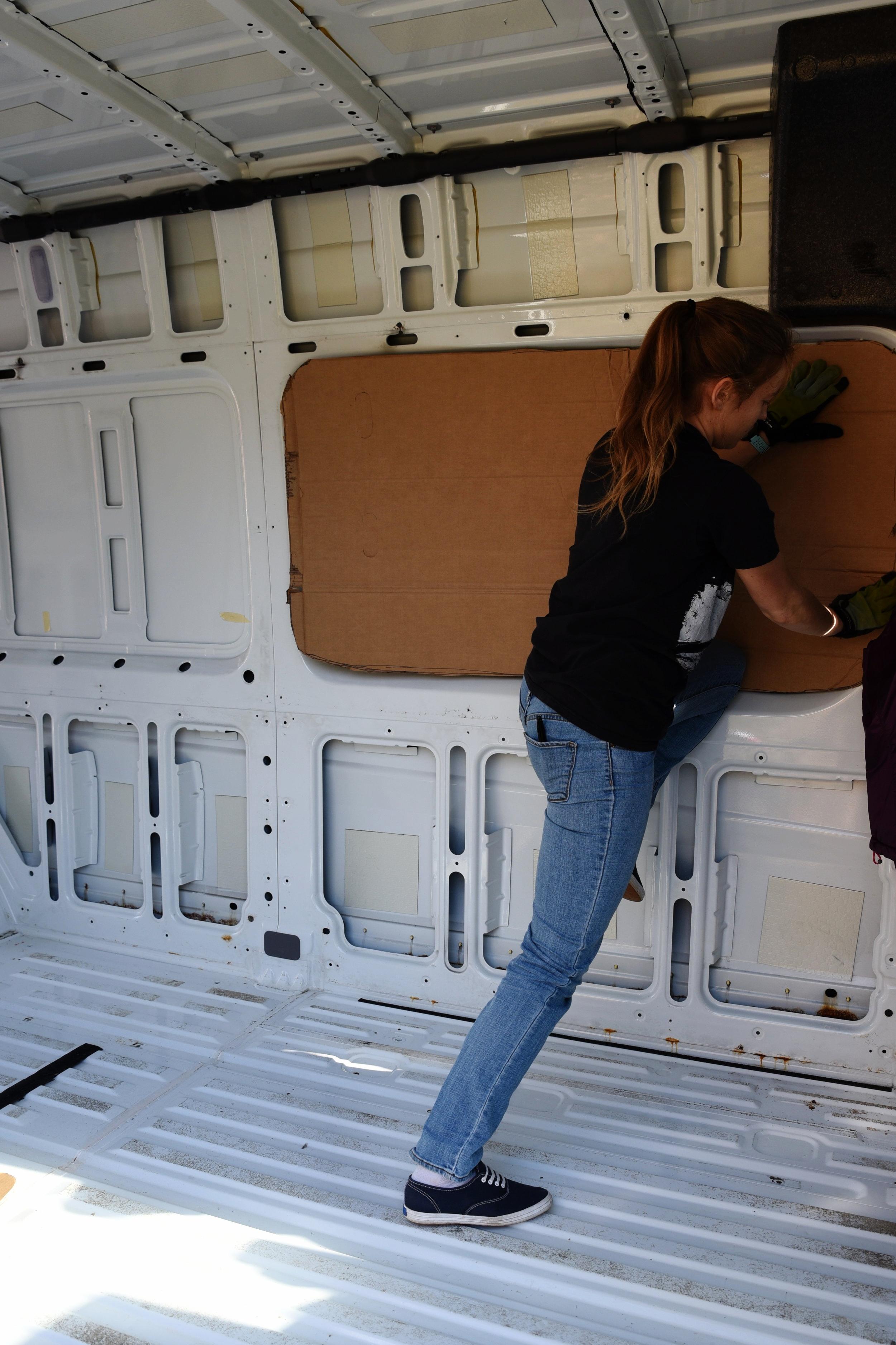 Kaylee test fits the template inside the van.