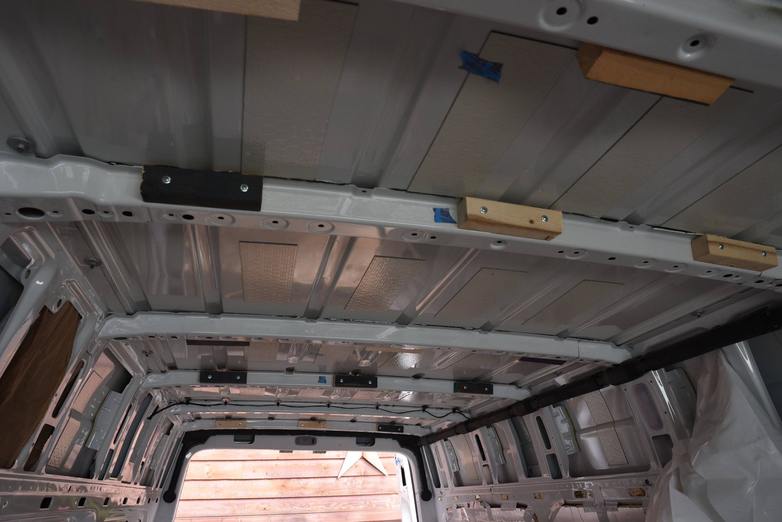 This picture shows the spacing of the studs in the ceiling.