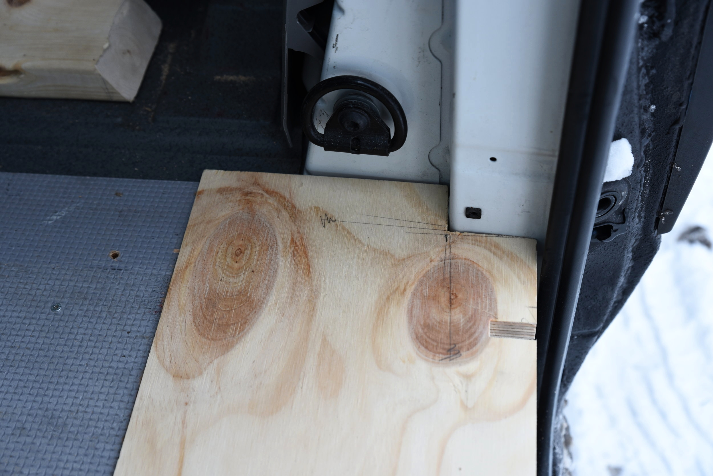 We made sure that the step had a very snug fit, because it's not attached to the van itself, only to the rest of the plywood flooring.