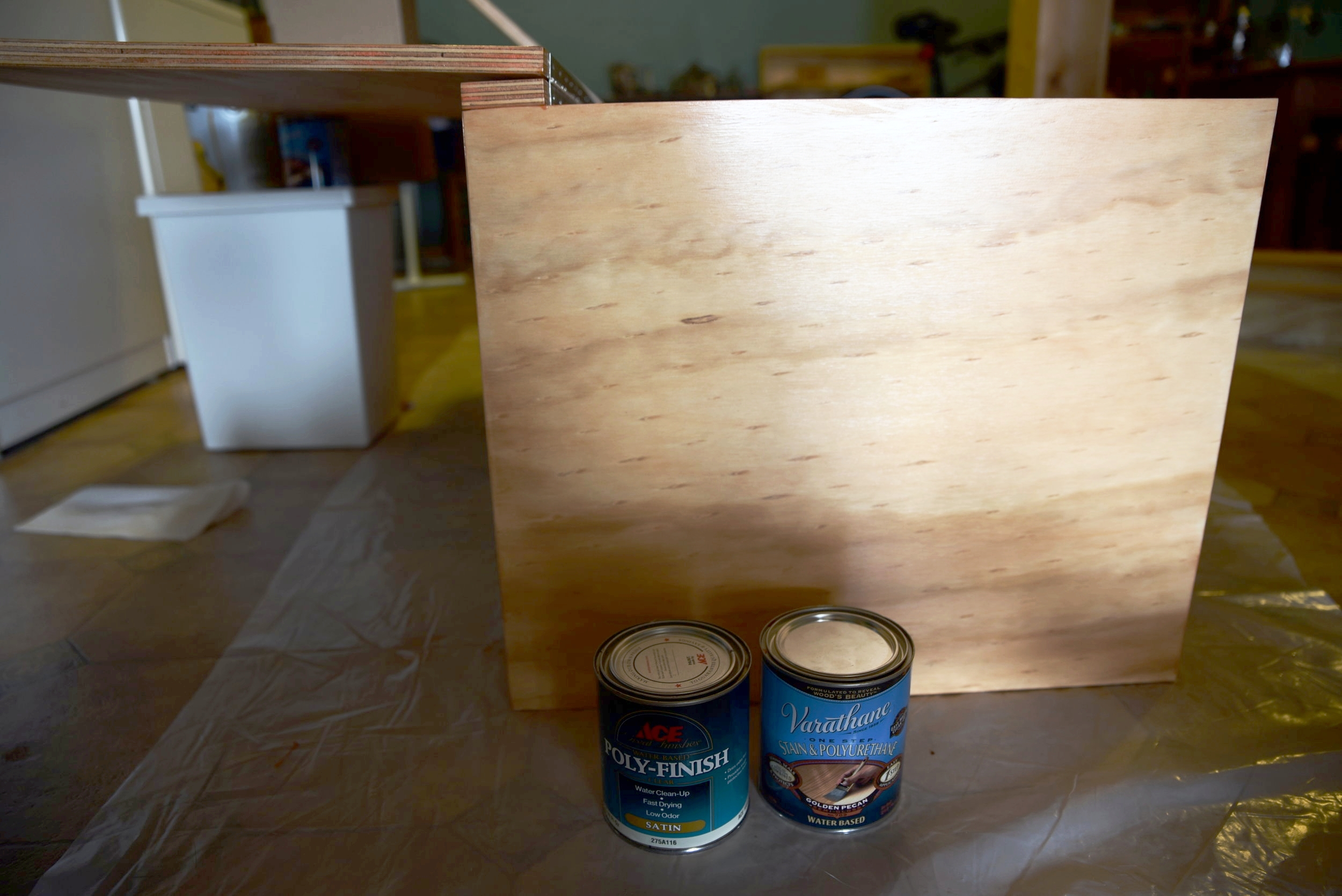 To finish the bench, we used a stain/polyurethane combo finish for the first coat, followed by two coats of clear poly.