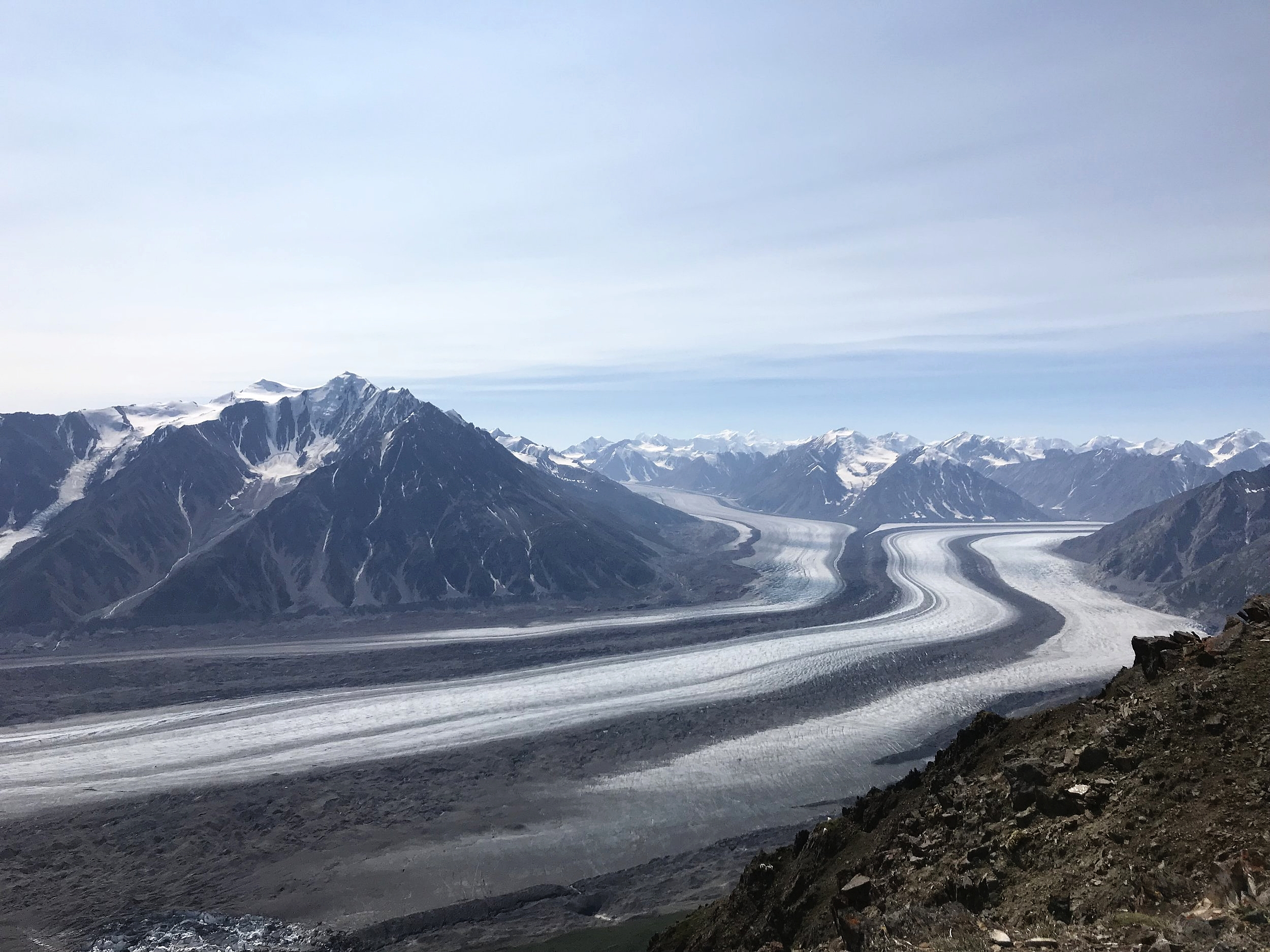 The Kaskawulsh Glacier can be viewed from the top of Observation Mountain or by plane.