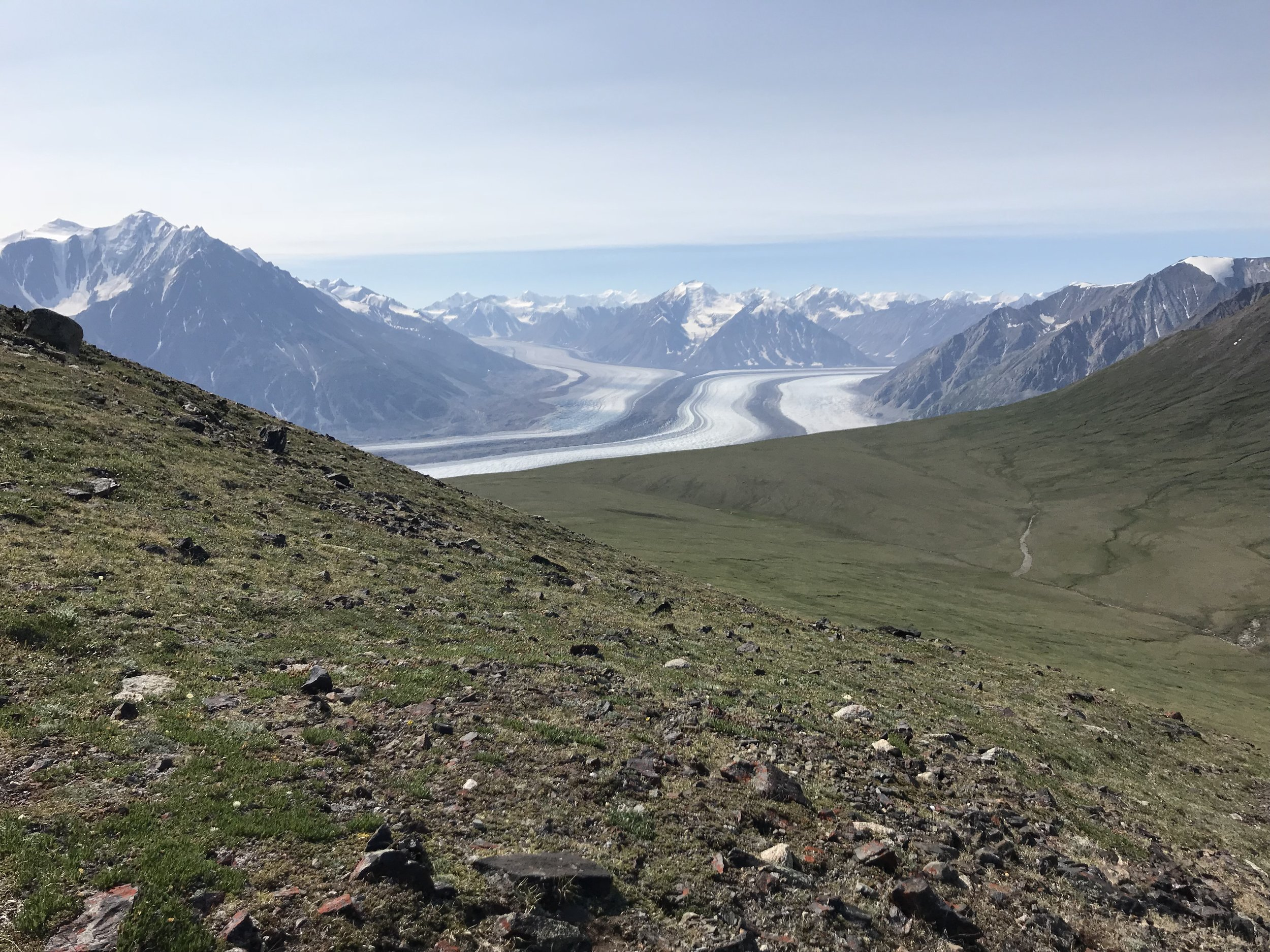 This photo shows the plateau that you can walk to instead for views of the glacier. Once you reach the saddle, you will get encouraging glimpses of the glacier to your right.