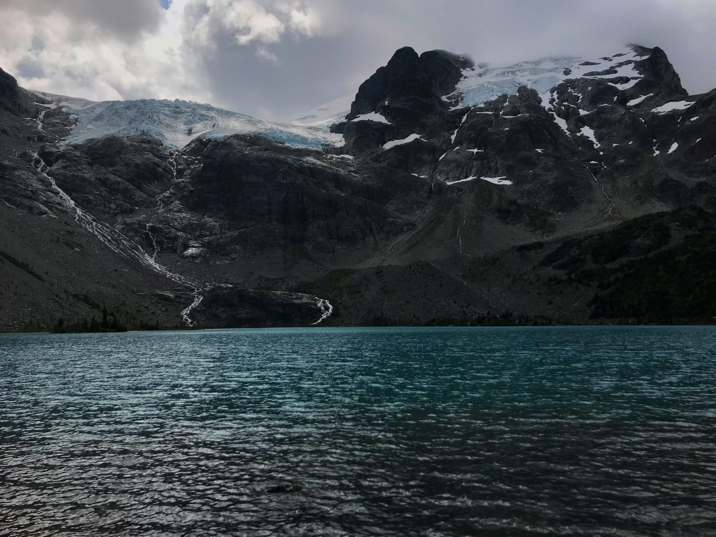 The Matier Glacier hanging above Upper Joffre Lake in Joffre Lakes Provincial Park near Pemberton, British Columbia