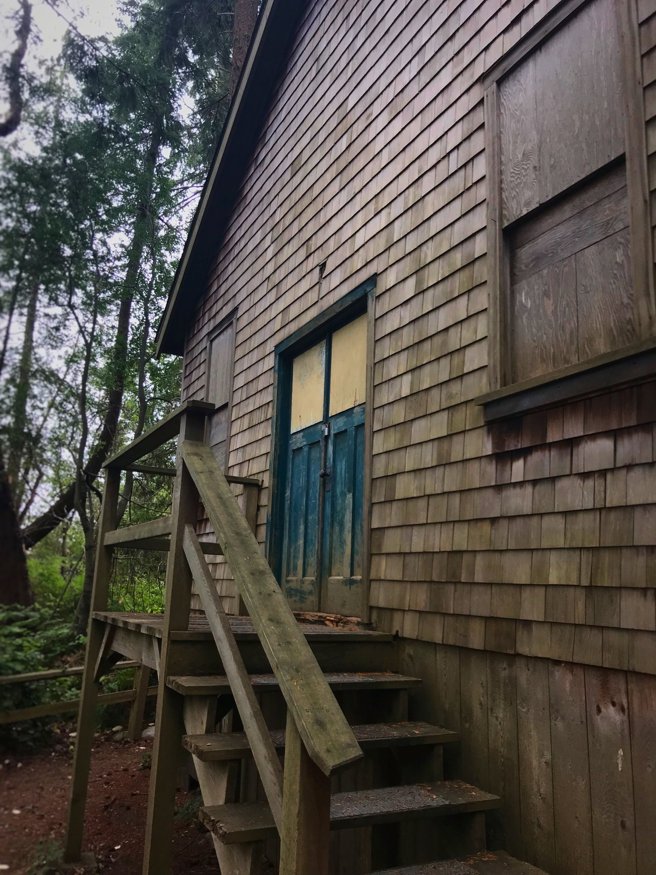 There is a bunch of cool old cedar shake buildings in Lighthouse Park.