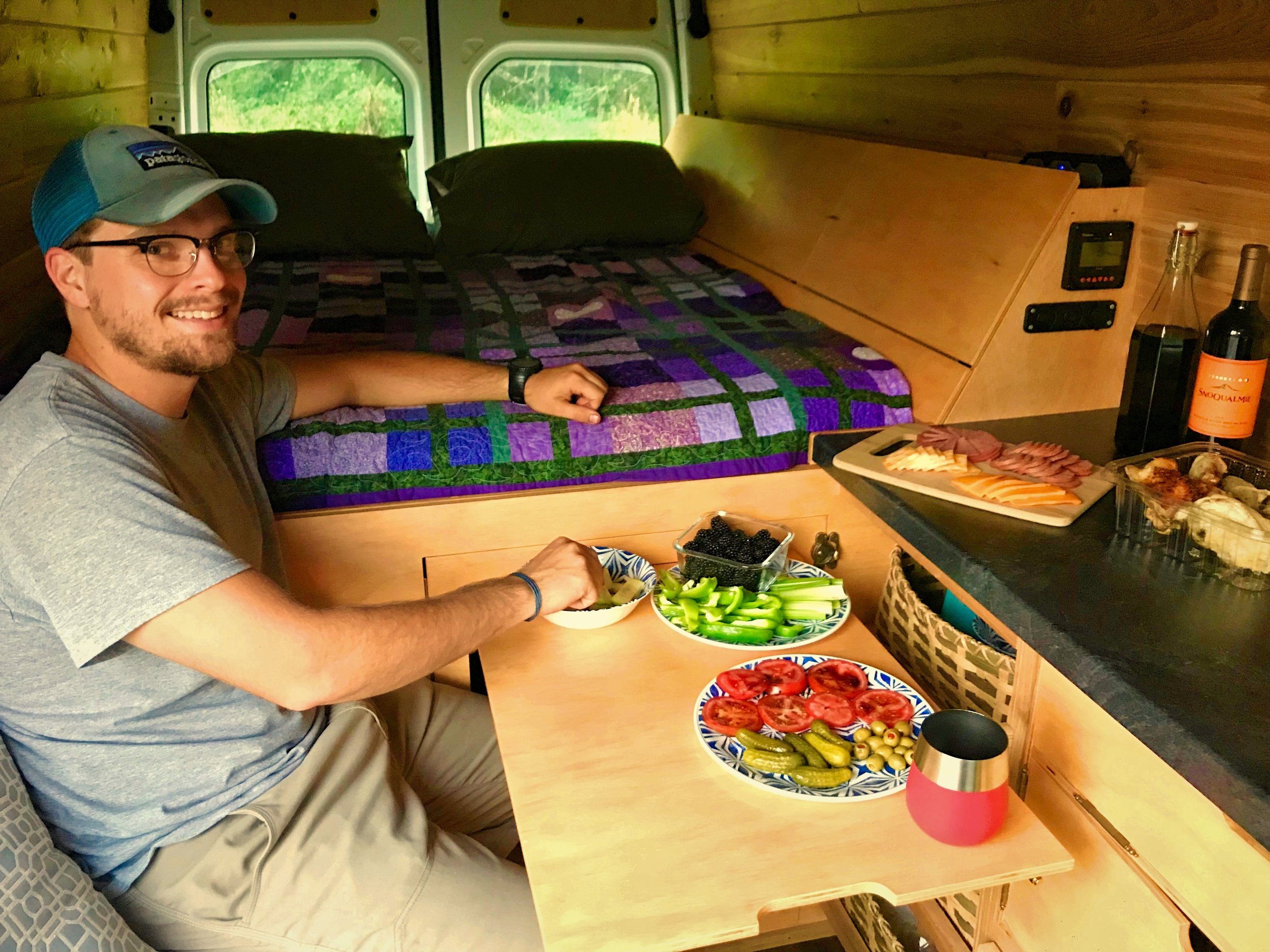 This fold up table, which is built into the door on front of the bed platform, is a great place to eat a home cooked meal.